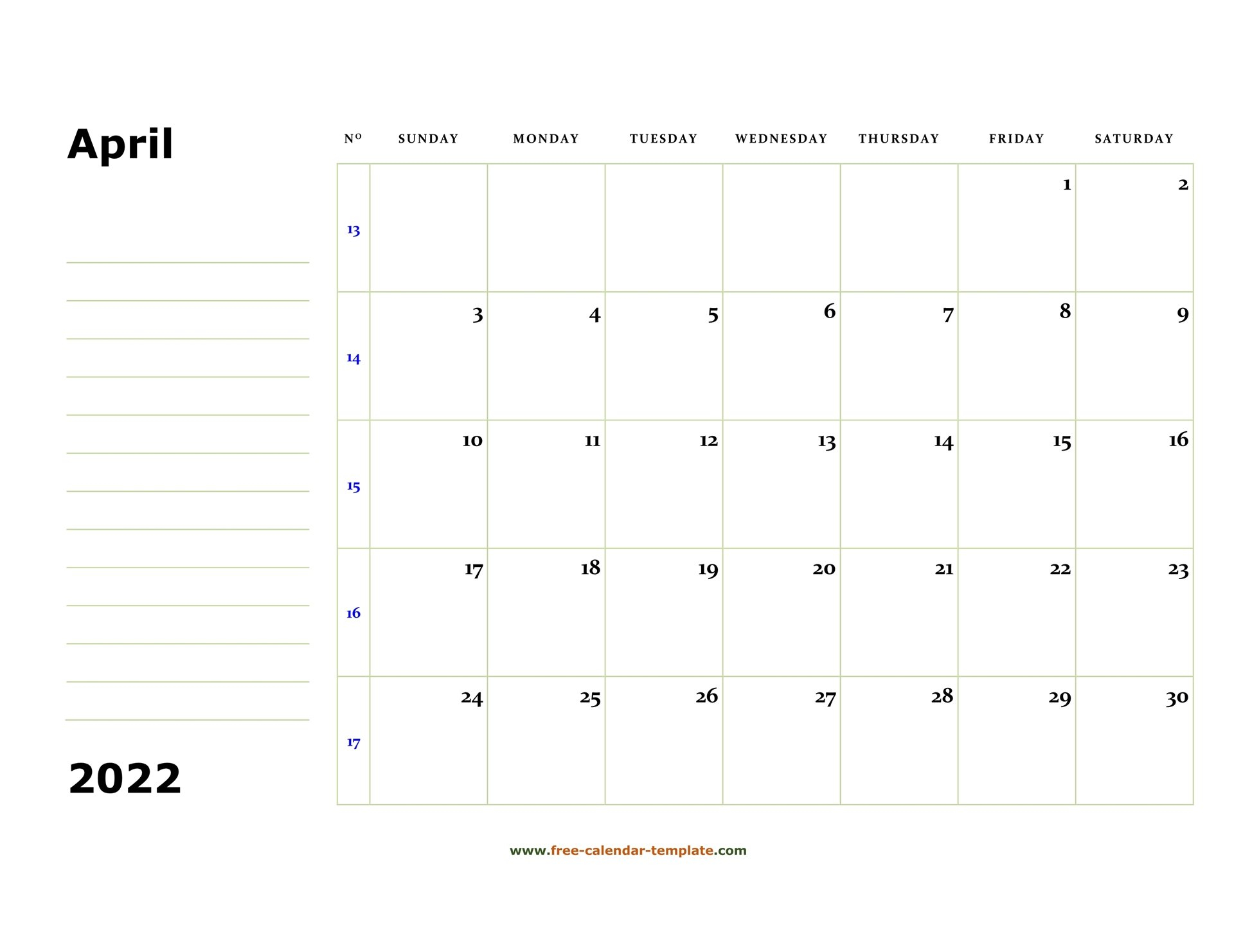 Printable April 2022 Calendar (Box And Lines For Notes in April May 2022 Printable Calendar