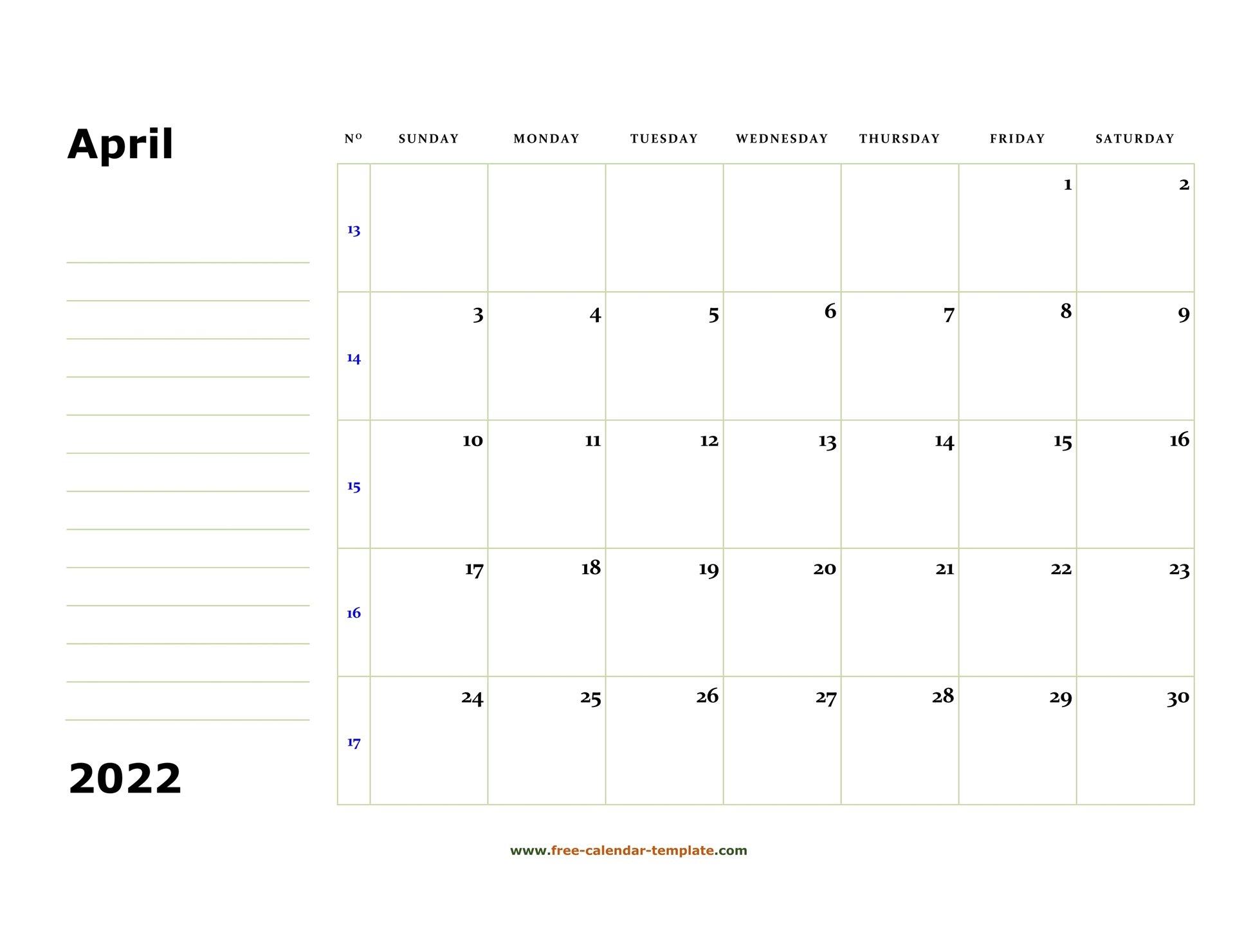 Printable April 2022 Calendar (Box And Lines For Notes with regard to April 2022 Printable Calendar Free Photo