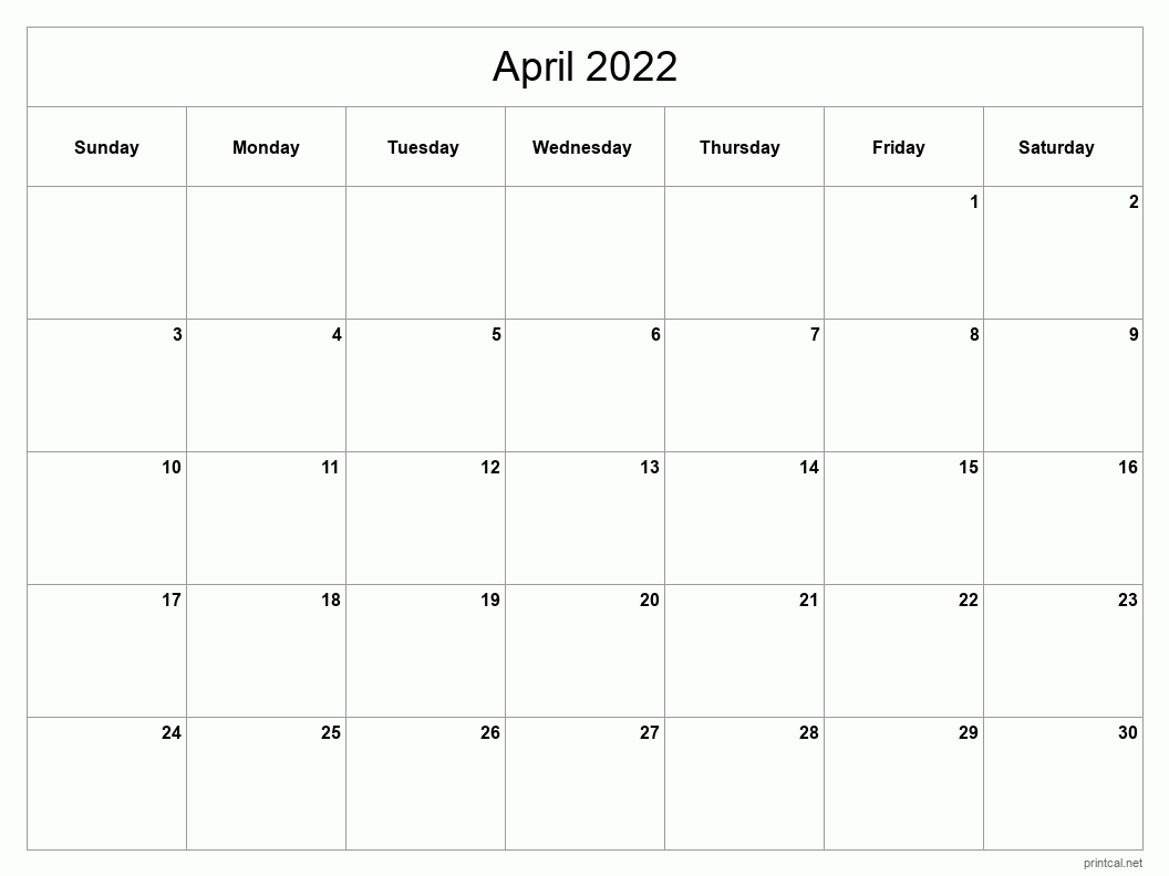 Printable April 2022 Calendar | Free Printable Calendars with Calendar April 2022 Printable Pdf Graphics
