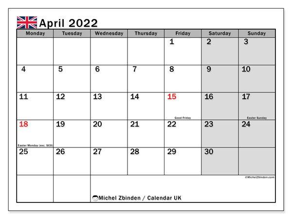 """Printable April 2022 """"Uk"""" Calendar - Michel Zbinden En intended for Blank Calendar Printable April 2022"""