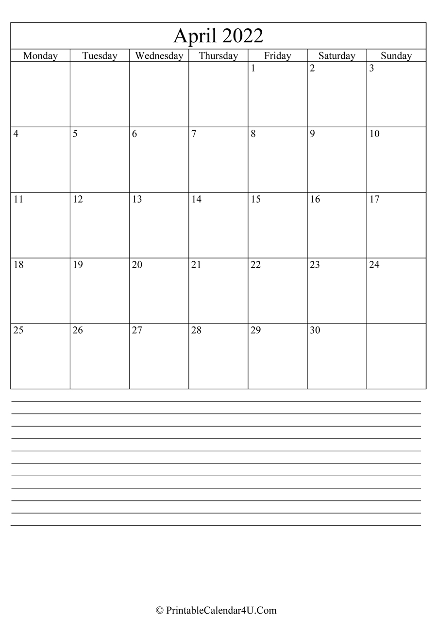 Printable April Calendar 2022 With Notes (Portrait) pertaining to March April May 2022 Calendar Printable