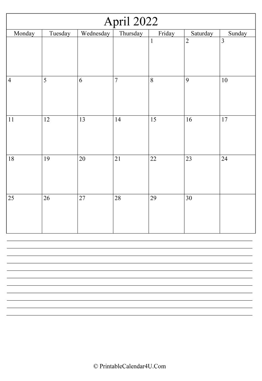 Printable April Calendar 2022 With Notes (Portrait) throughout March & April 2022 Calendar Free Printable Image
