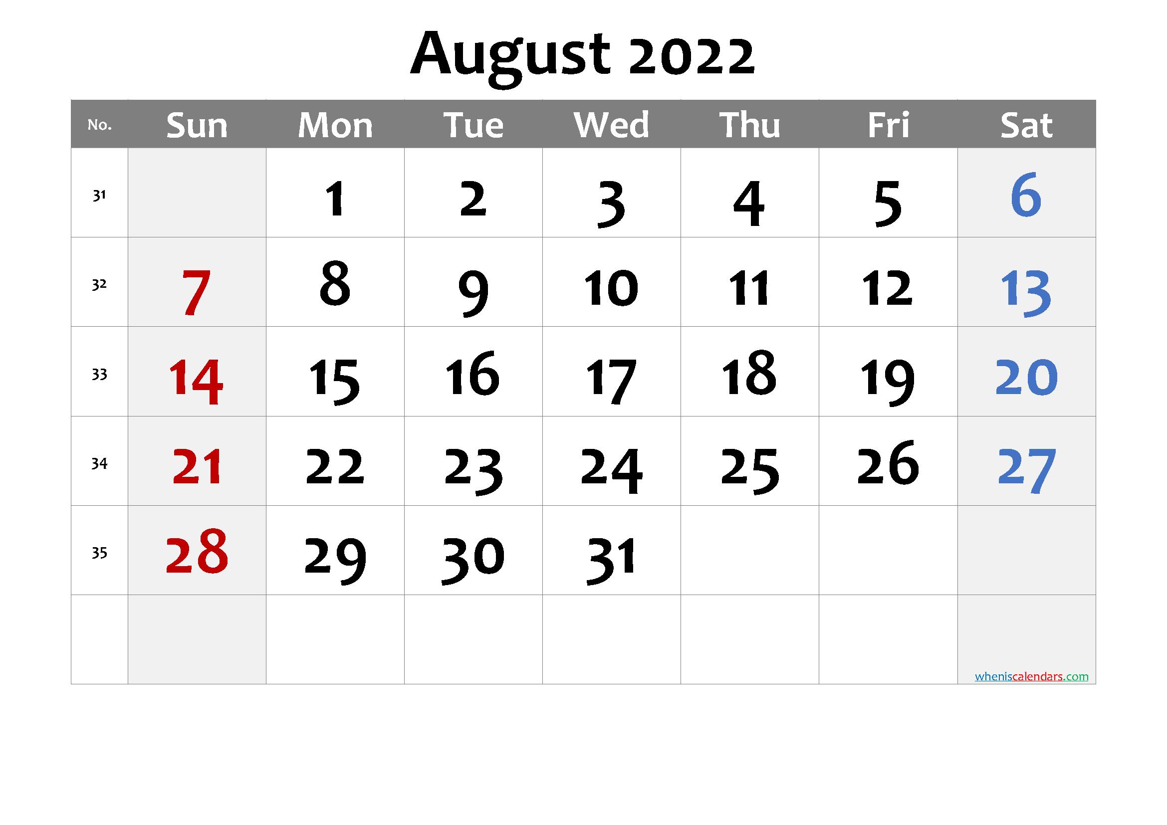 Printable August 2022 Calendar With Holidays - 6 Templates regarding Free Printable Calendar August 2022 Graphics