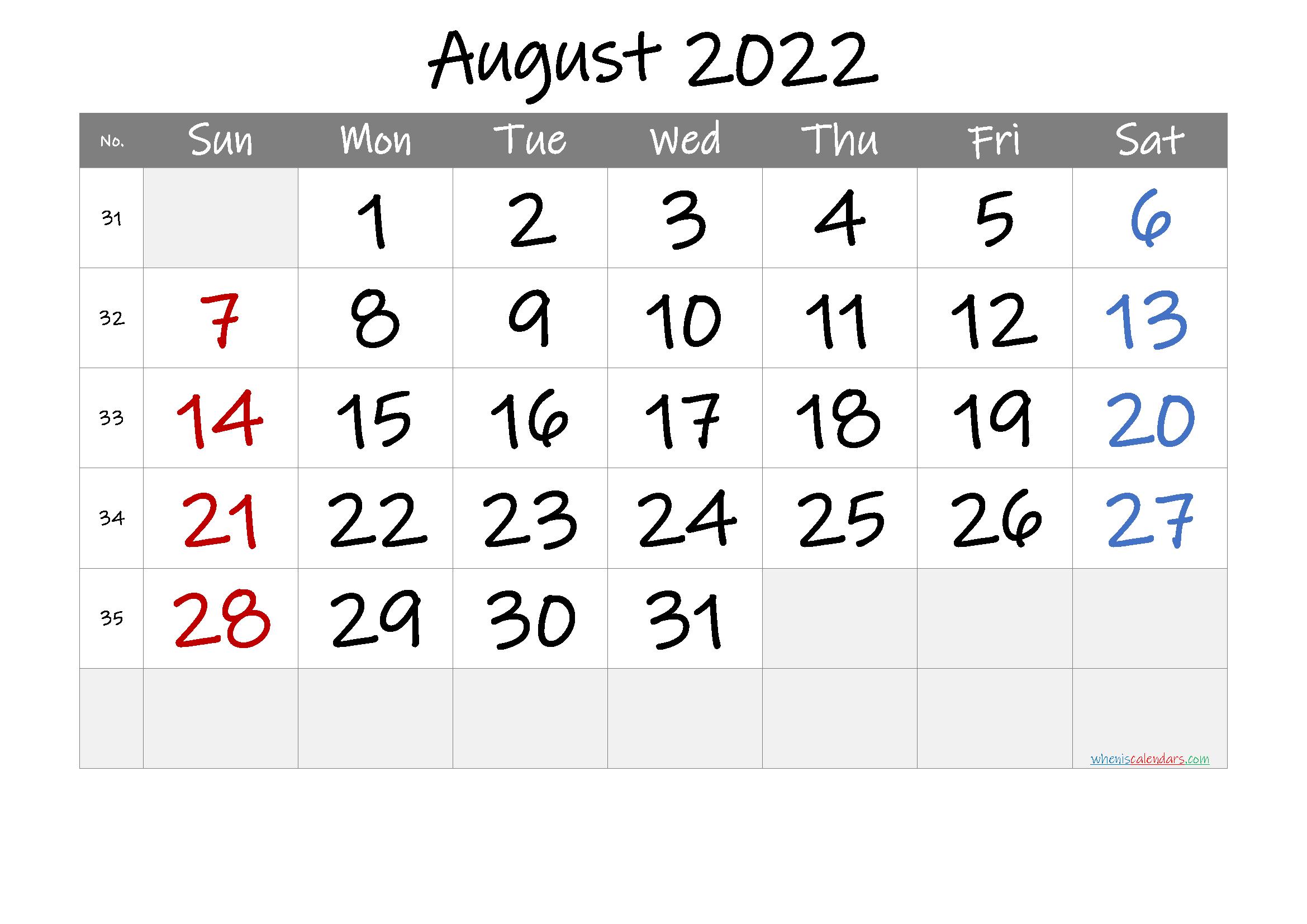 Printable August 2022 Calendar With Week Numbers within Free Printable Calendar August 2022 Graphics