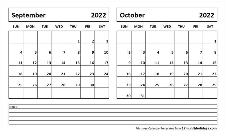 Printable Blank Two Month Calendar September October 2022 intended for Monthly Calendar September 2022