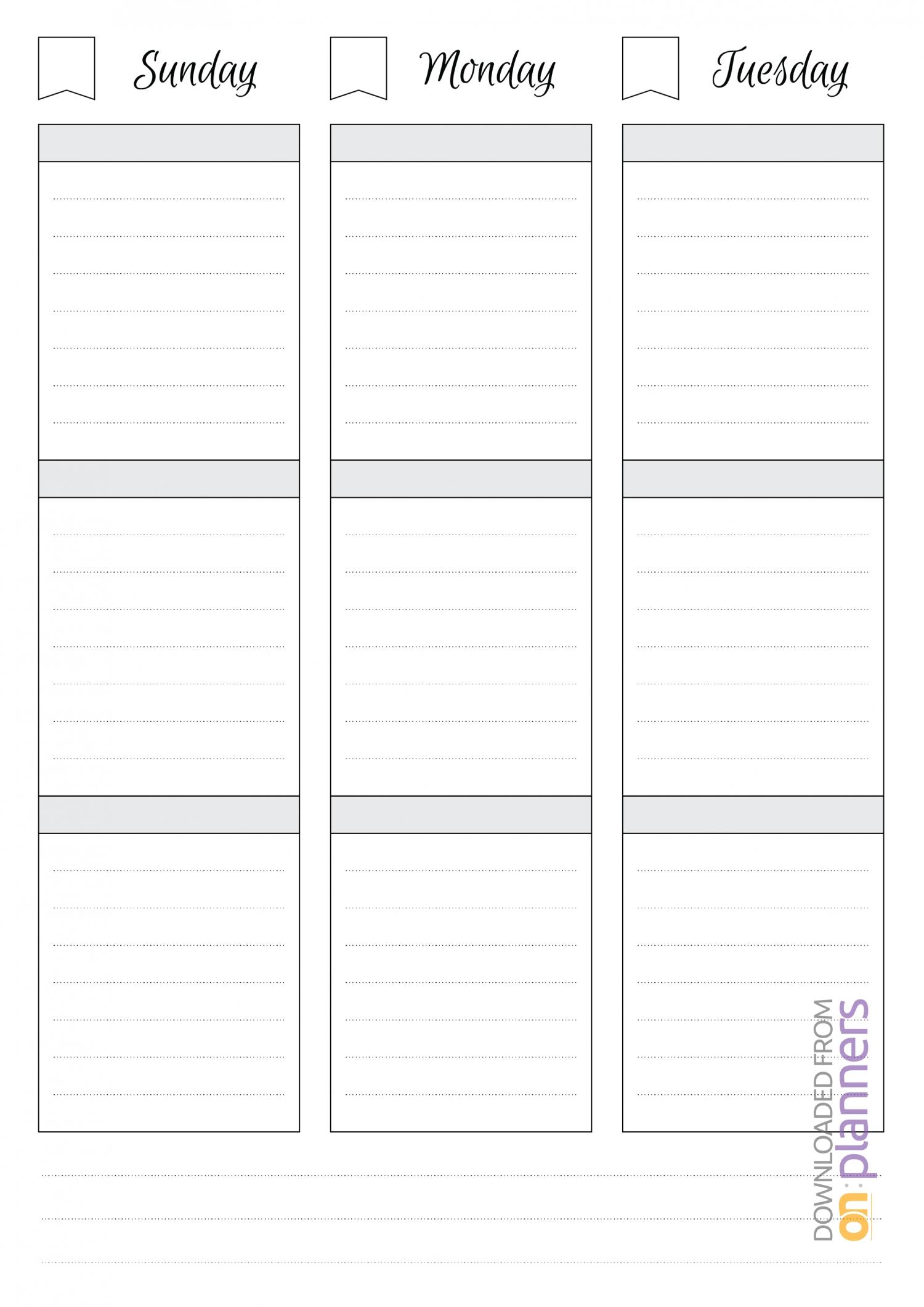 Printable Blank Weekly Calendars Templates | Free Calendar Template Example with Free Weekly Planner Template