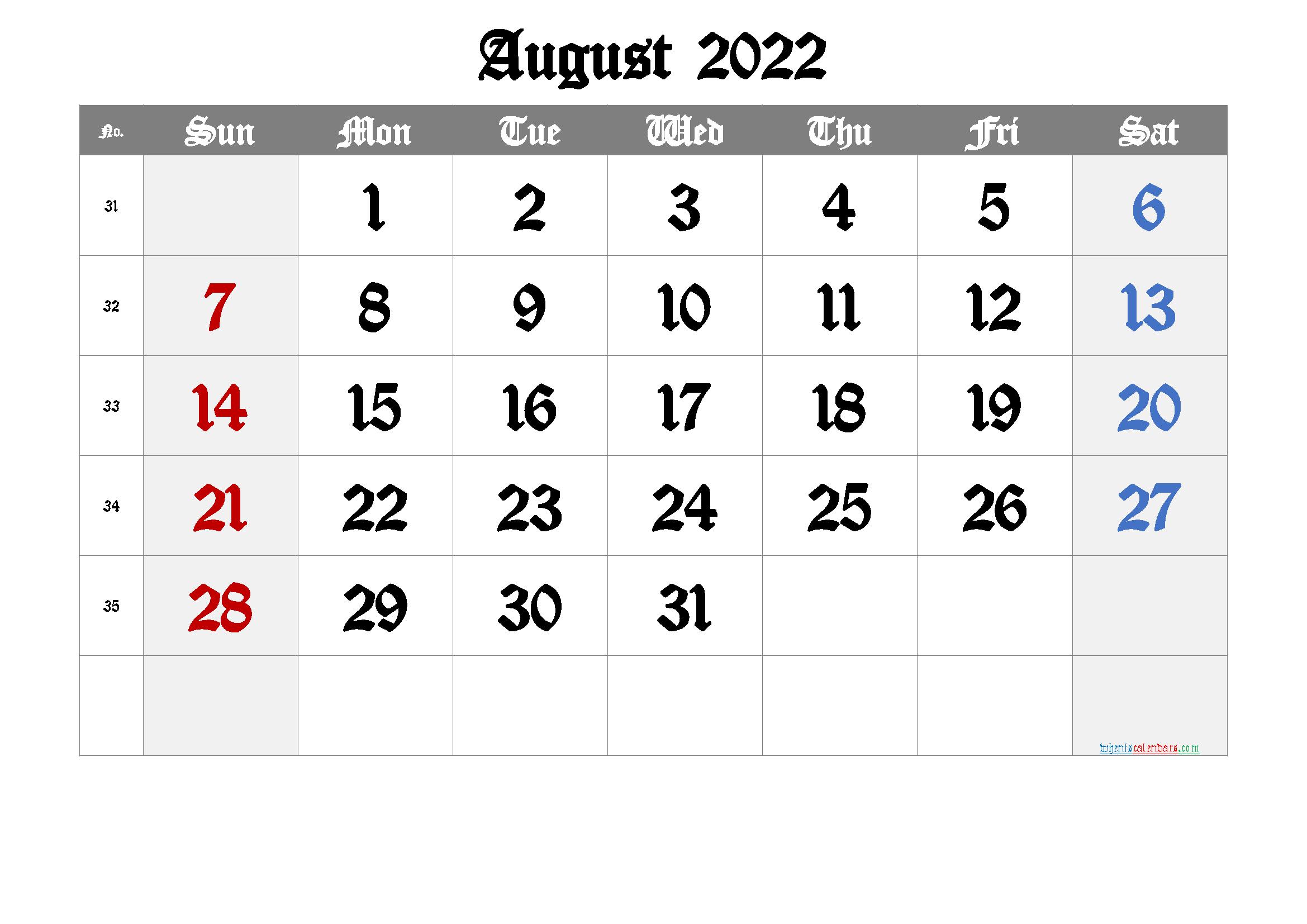 Printable Calendar 2022 August | Free Printable 2020 regarding Printable Monthly Calendar August 2022