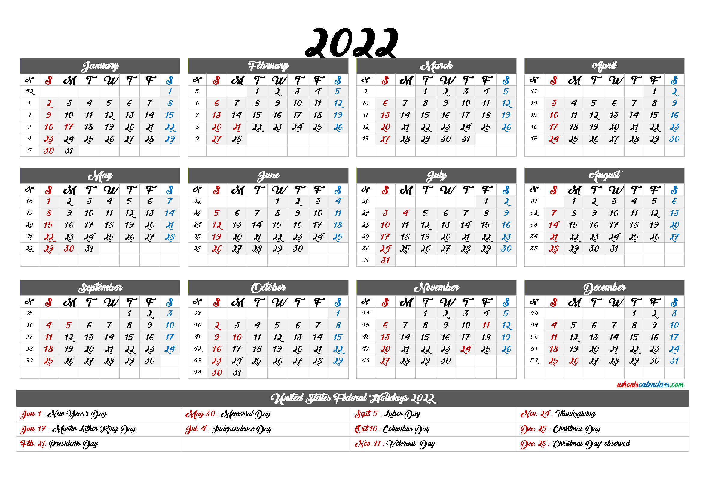 Printable Calendar 2022 With Holidays - 6 Templates inside Daily Planner 2022 Template