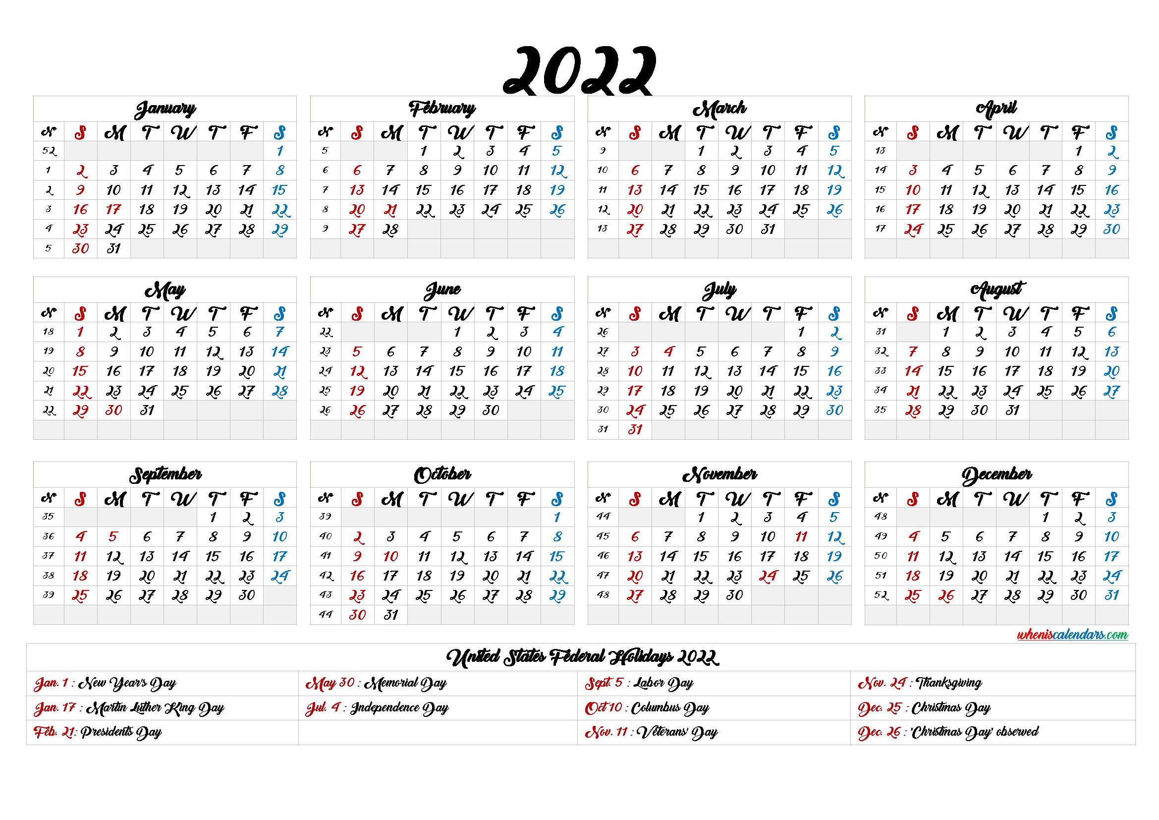 Printable Calendar 2022 With Holidays - 6 Templates throughout Free Printable 2022 Planner With Holidays Graphics