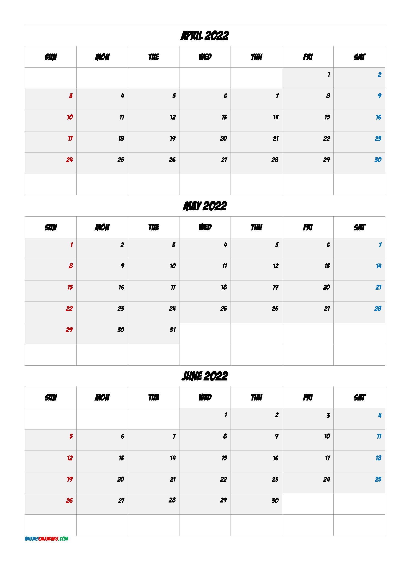 Printable Calendar April May June 2022 [Q1-Q2-Q3-Q4 with regard to March & April 2022 Calendar Free Printable