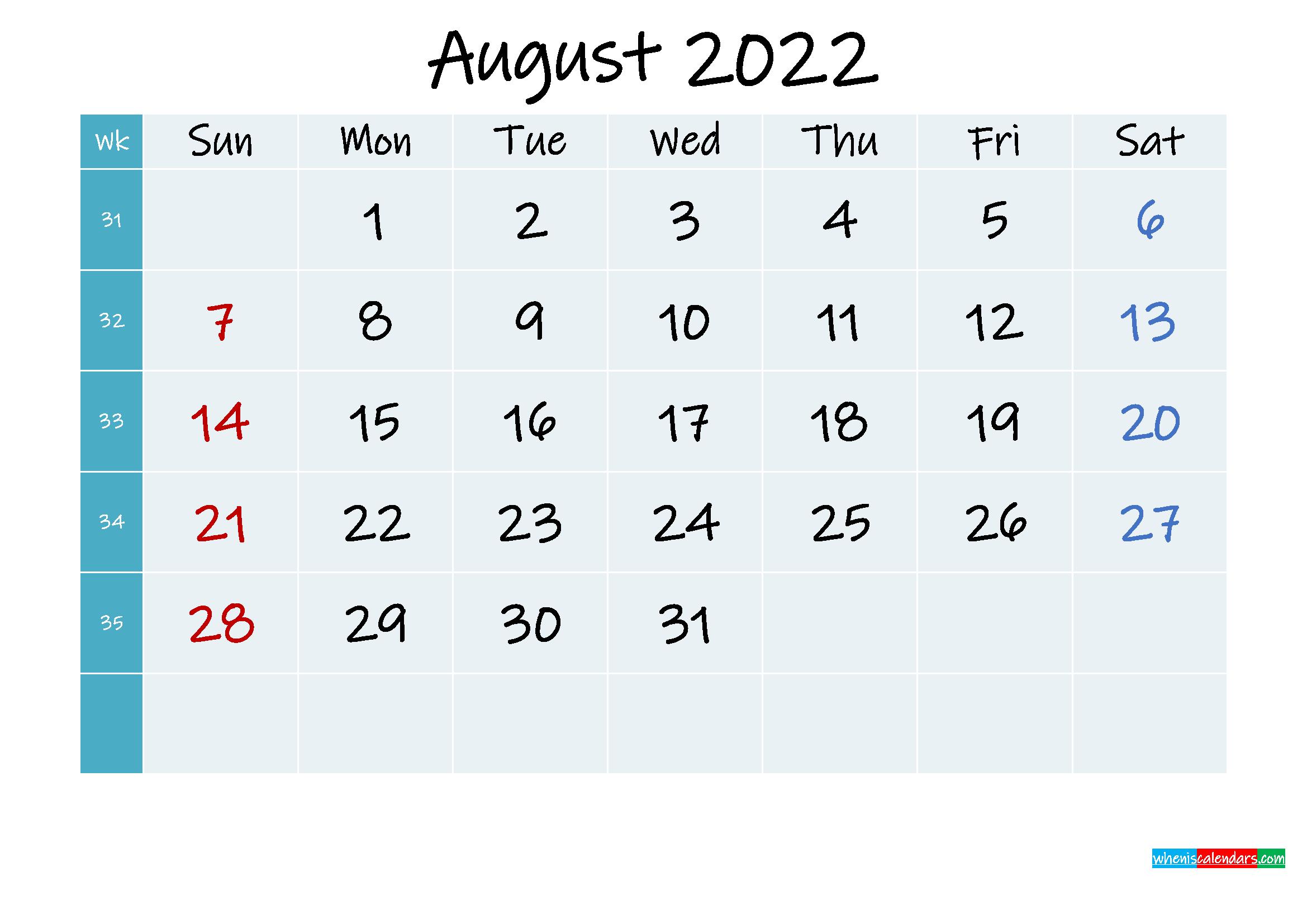 Printable Calendar August 2022 - Template No.ink22M320 inside Free Printable Calendar August 2022
