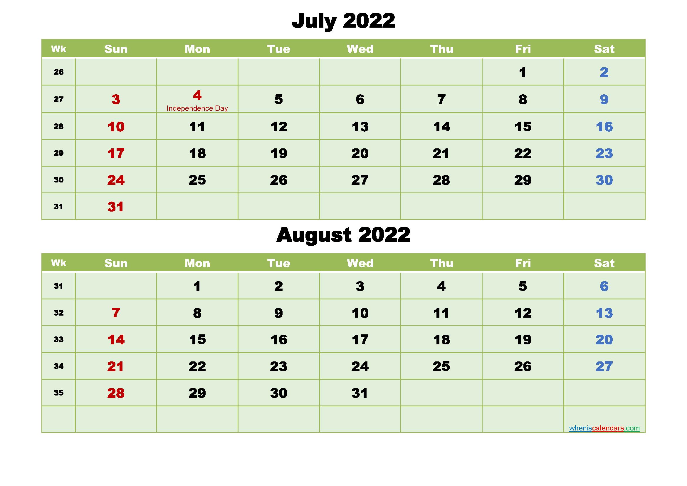 Printable Calendar July And August 2022 Word, Pdf in Print July 2022 Ckander Photo