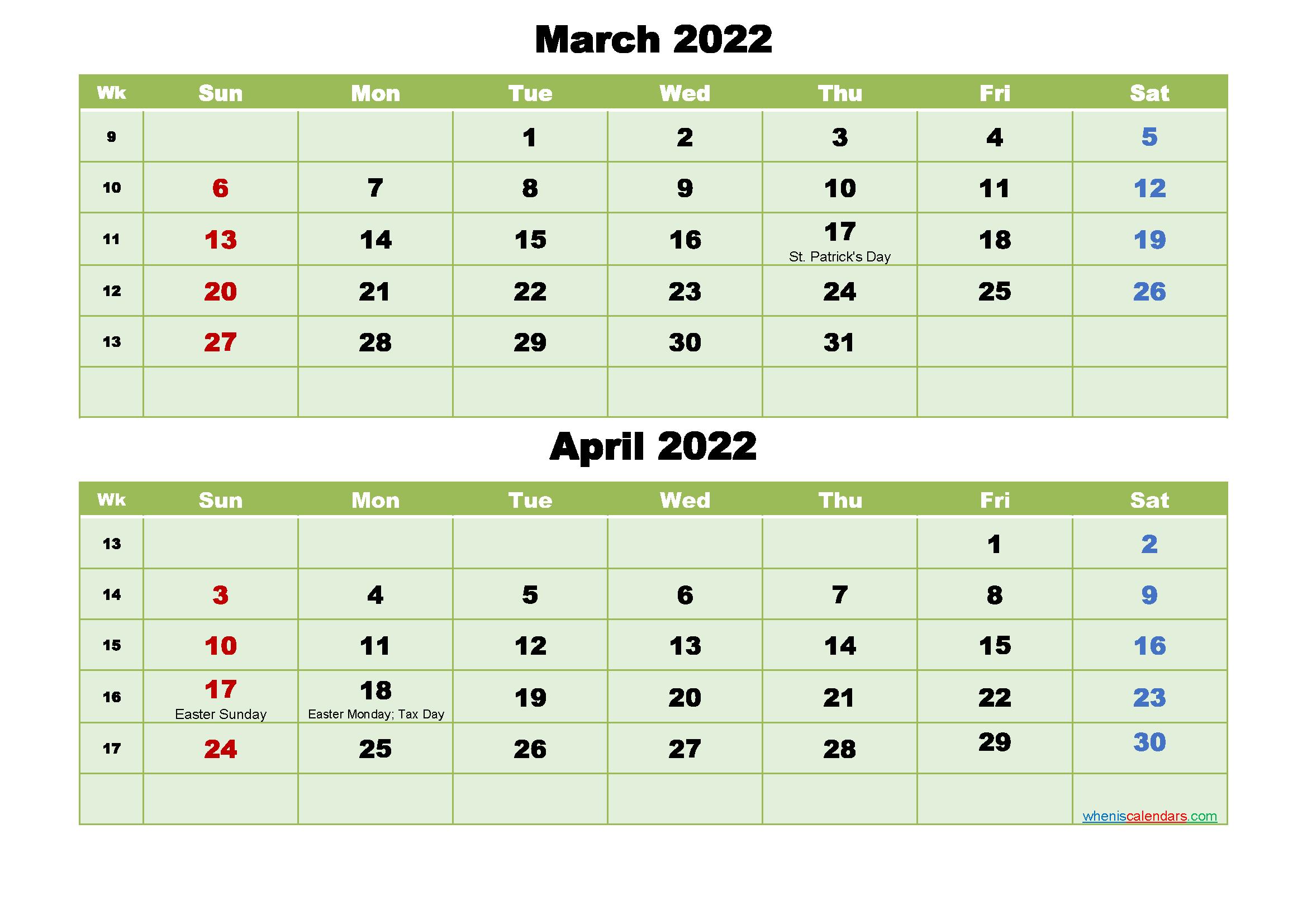 Printable Calendar March And April 2022 Word, Pdf | Free regarding April May Calendar 2022 Pdf Photo