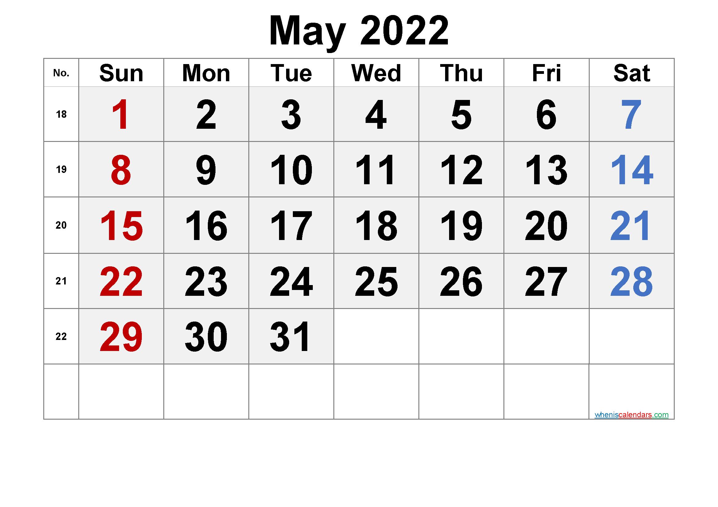 Printable Calendar May 2022 - 6 Templates - Free Printable within Printable Mayl 2022 Calendar Image