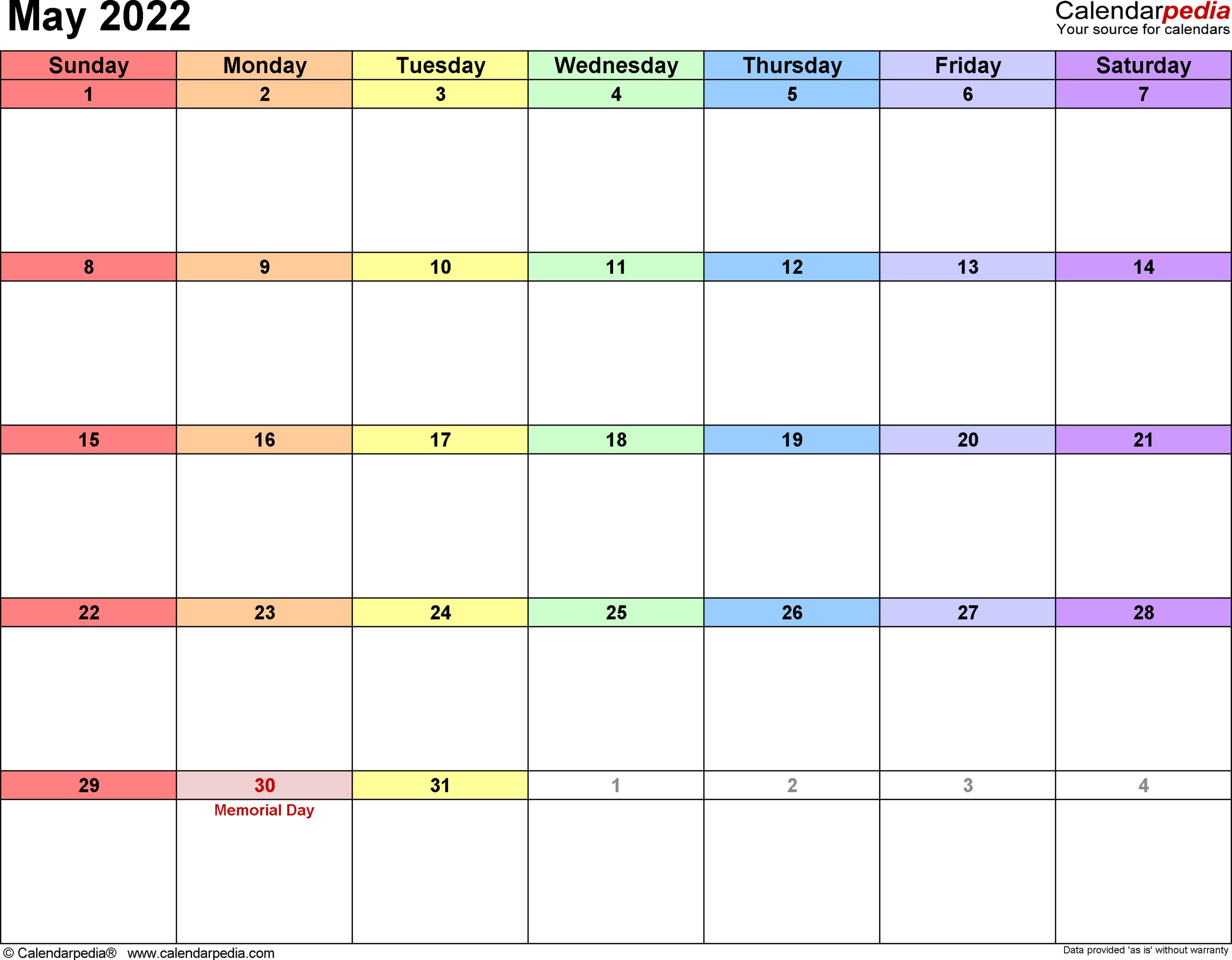 Printable Calendar May 2022 | Free Letter Templates in May 2022 Calendar Printable