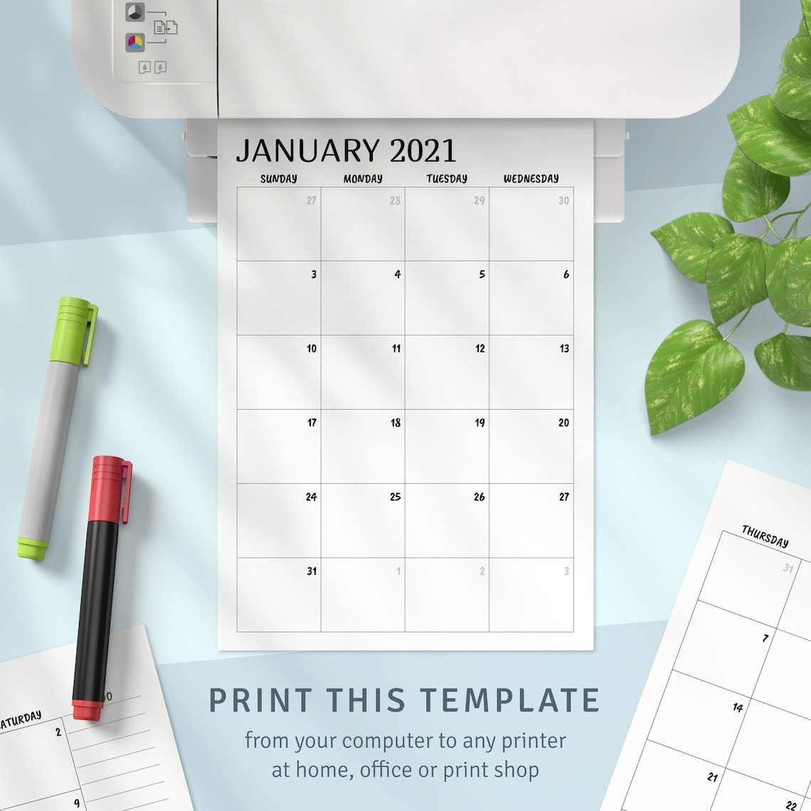 Printable Calendar Monthly 2021 2022 Month On Two Page   Etsy in Printable Monthly Planner Pages 2022