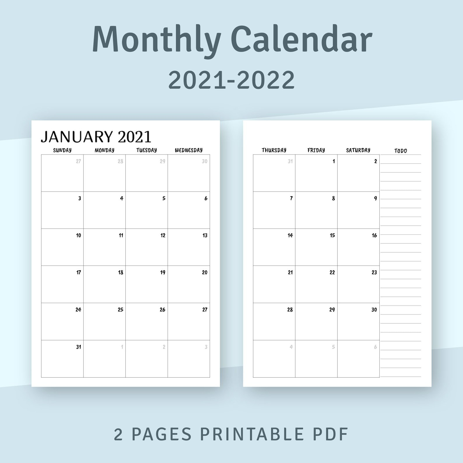 Printable Calendar Monthly 2021 2022 Month On Two Page   Etsy regarding Printable Monthly Planner Pages 2022