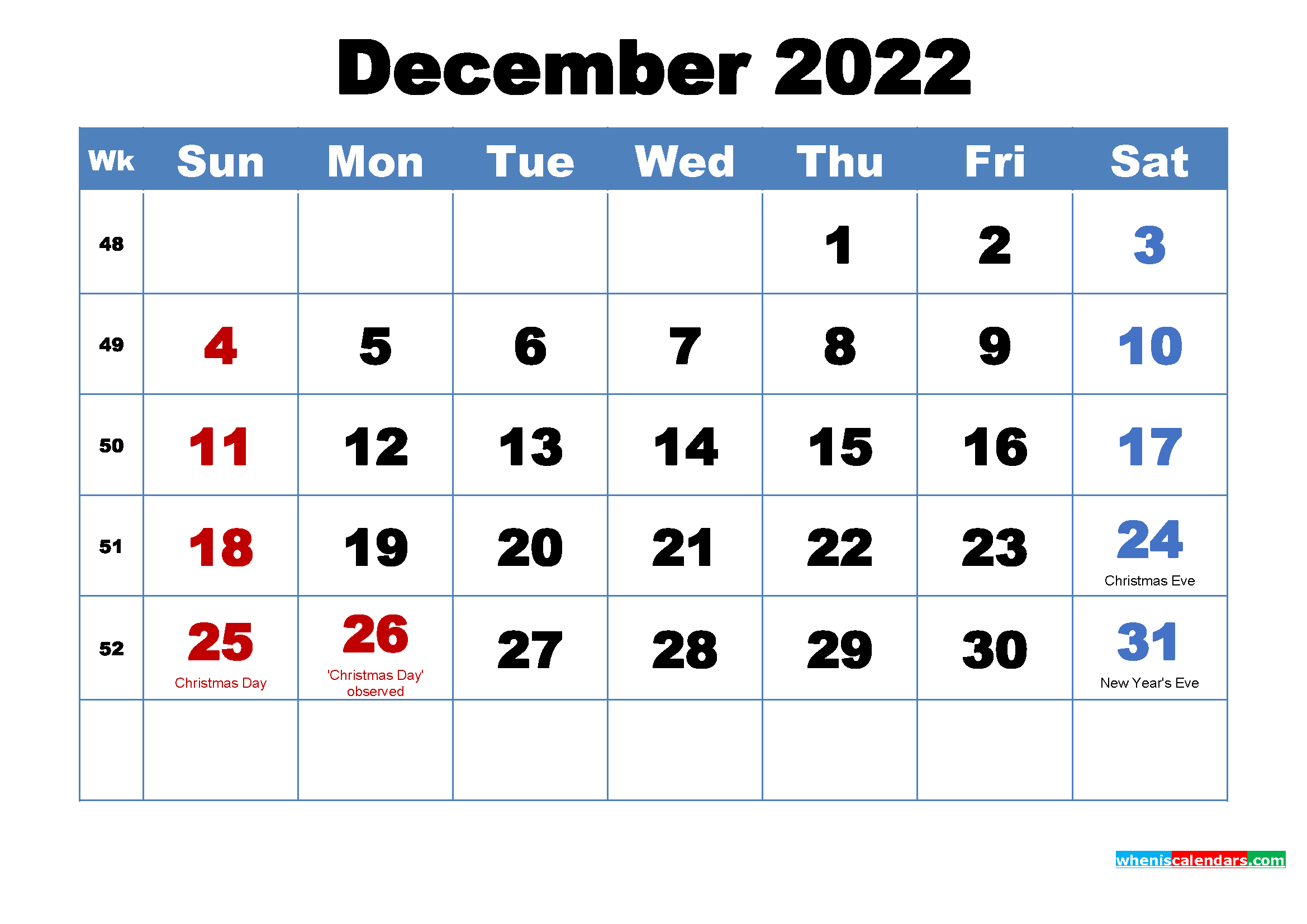 Printable December 2022 Calendar With Holidays with 2022 Weekly Planner Printable