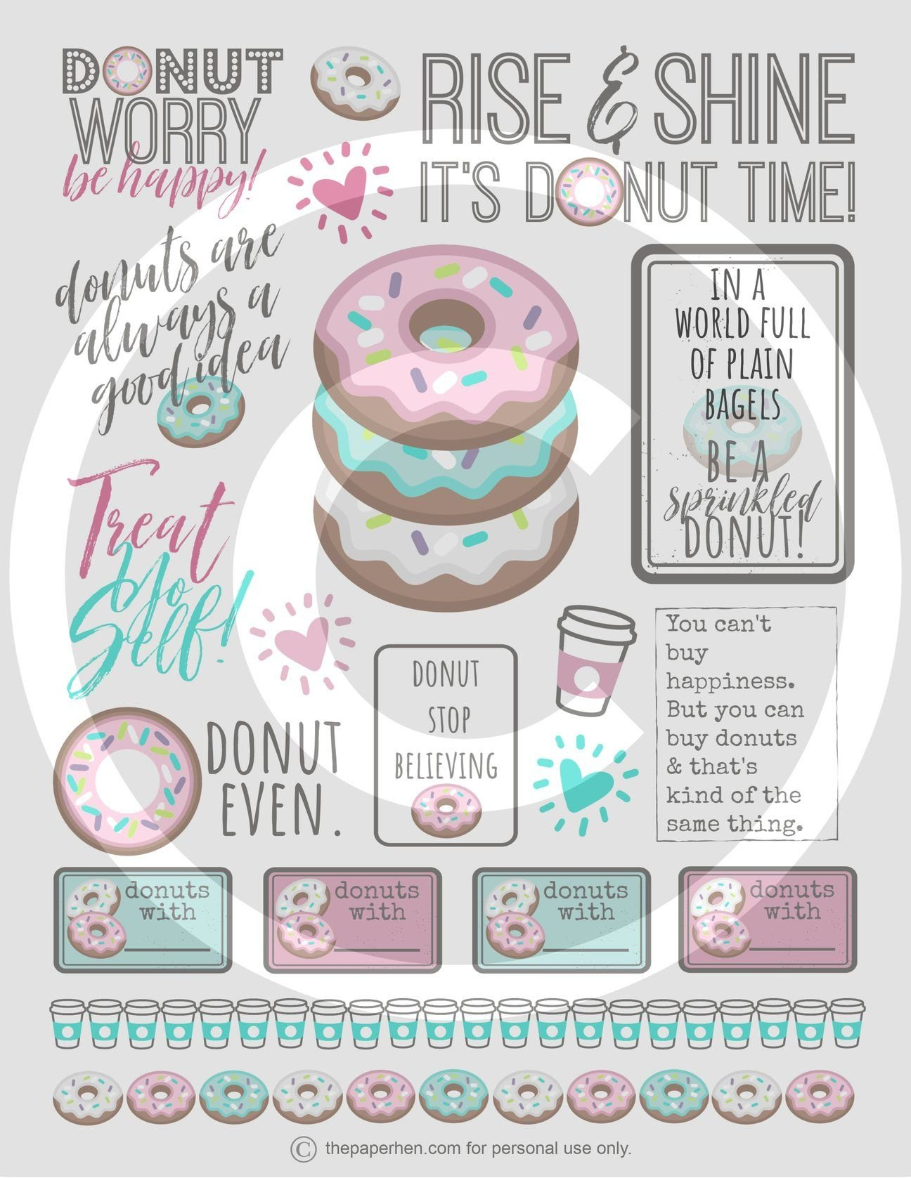 Printable Happy Planner Stickers For Donut Lovers In 2020 inside Free Happy Planner Stickers Printable