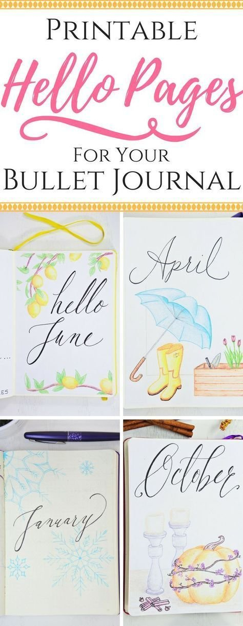 """Printable """"Hello Pages"""" For Your Journal ⋆ Sheena Of The with Printable Bullet Journal April Cover Page Image"""