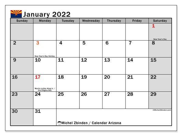 "Printable January 2022 ""Arizona"" Calendar - Michel Zbinden En for January 2022 Calendar Half Page Print"
