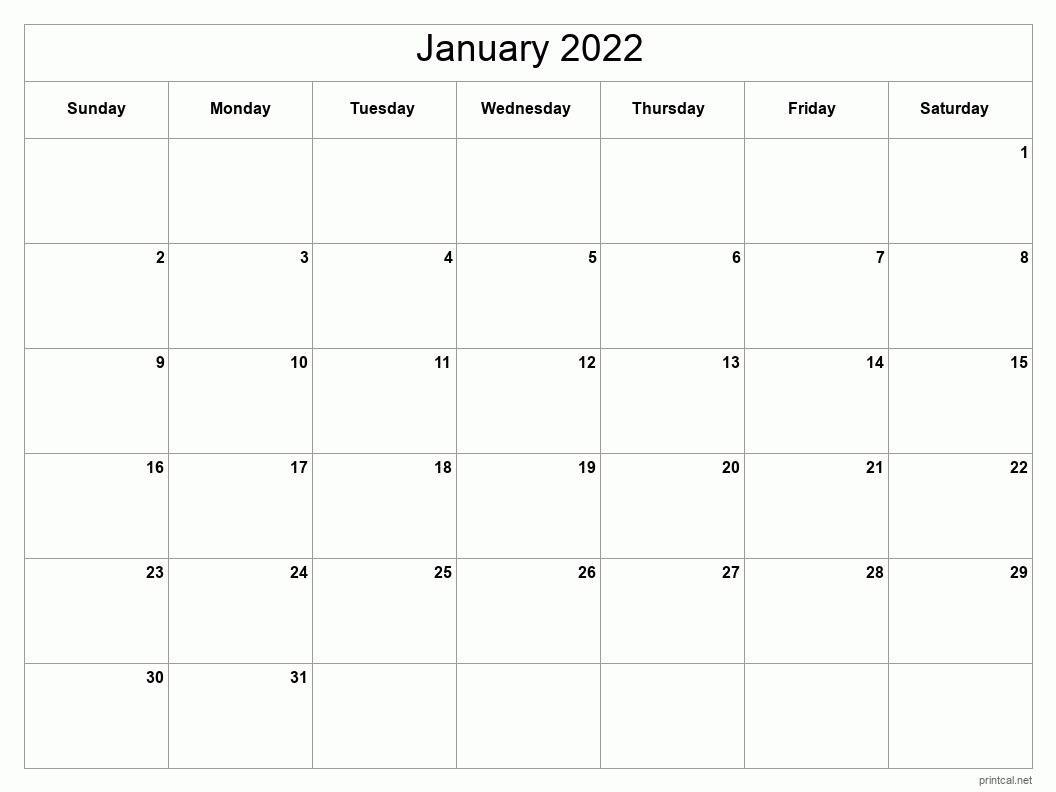 Printable January 2022 Calendar | Free Printable Calendars intended for January 2022 Printable Calendar Photo
