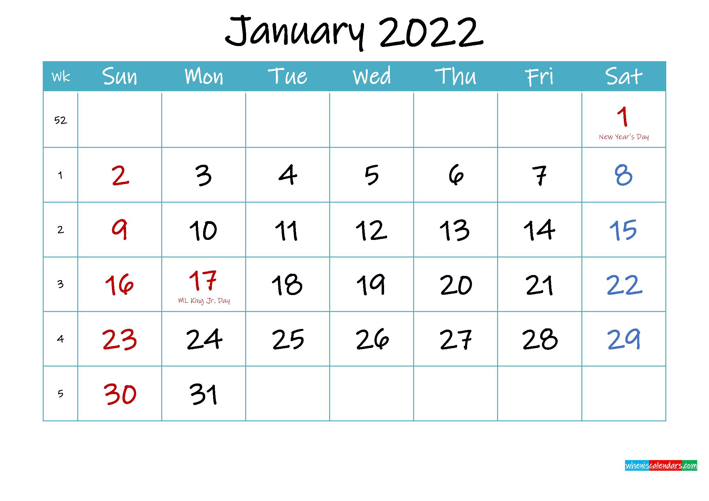 Printable January 2022 Calendar Pdf - Template Ink22M61 for January 2022 Calendar Half Page Print