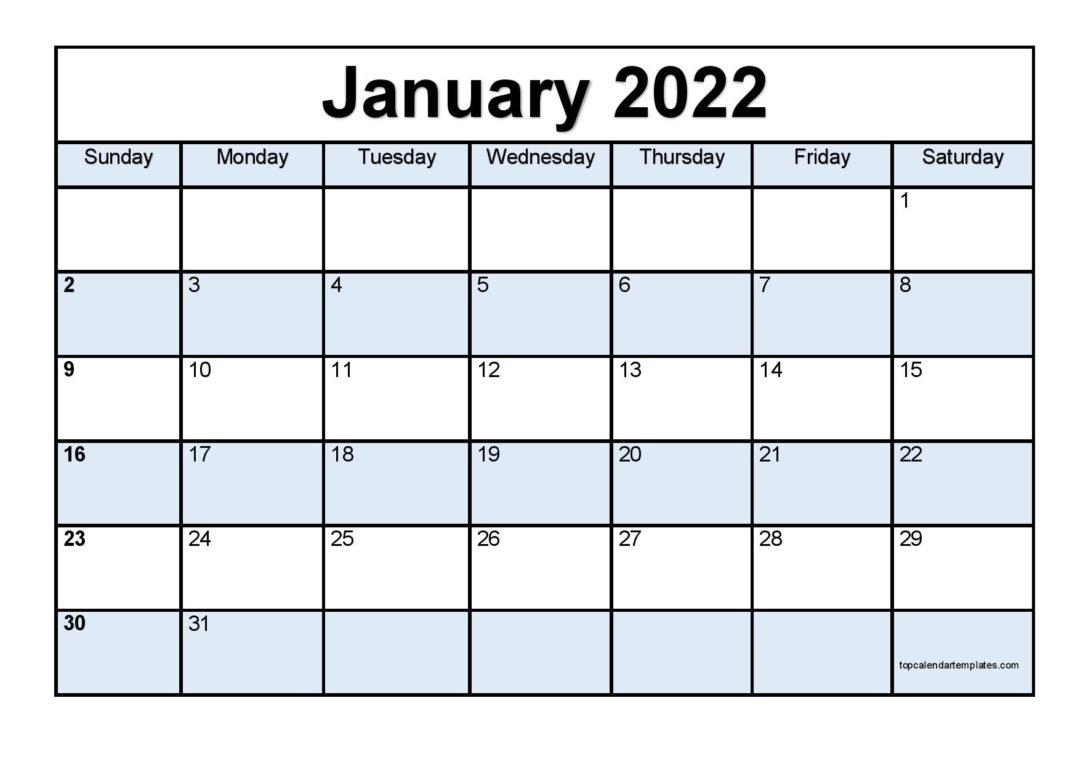 Printable January 2022 Calendar Template (Pdf, Word, Excel) with January 2022 Printable Calendar