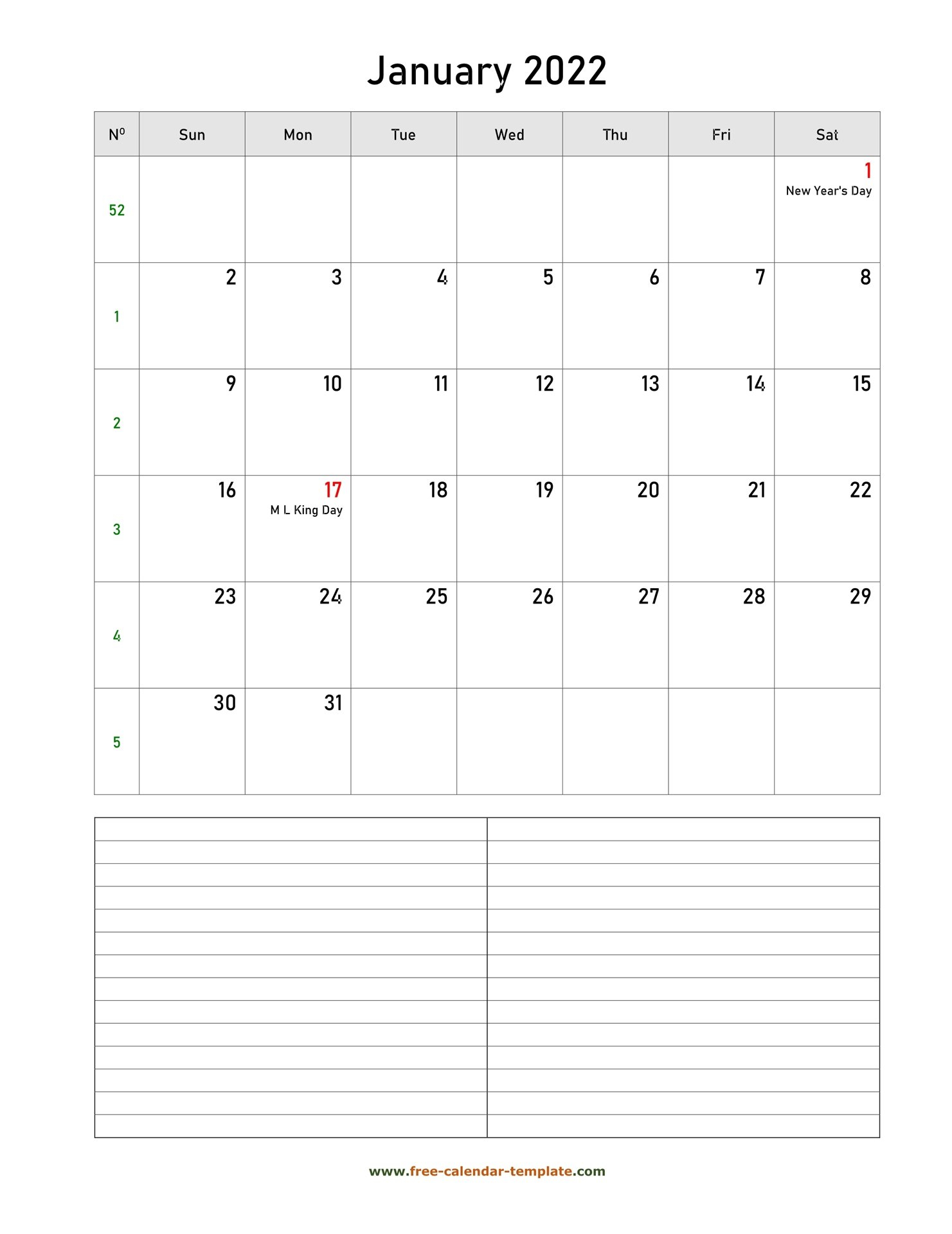 Printable January 2022 Calendar With Space For intended for 2022 2022 Monthly Planner Free Printable