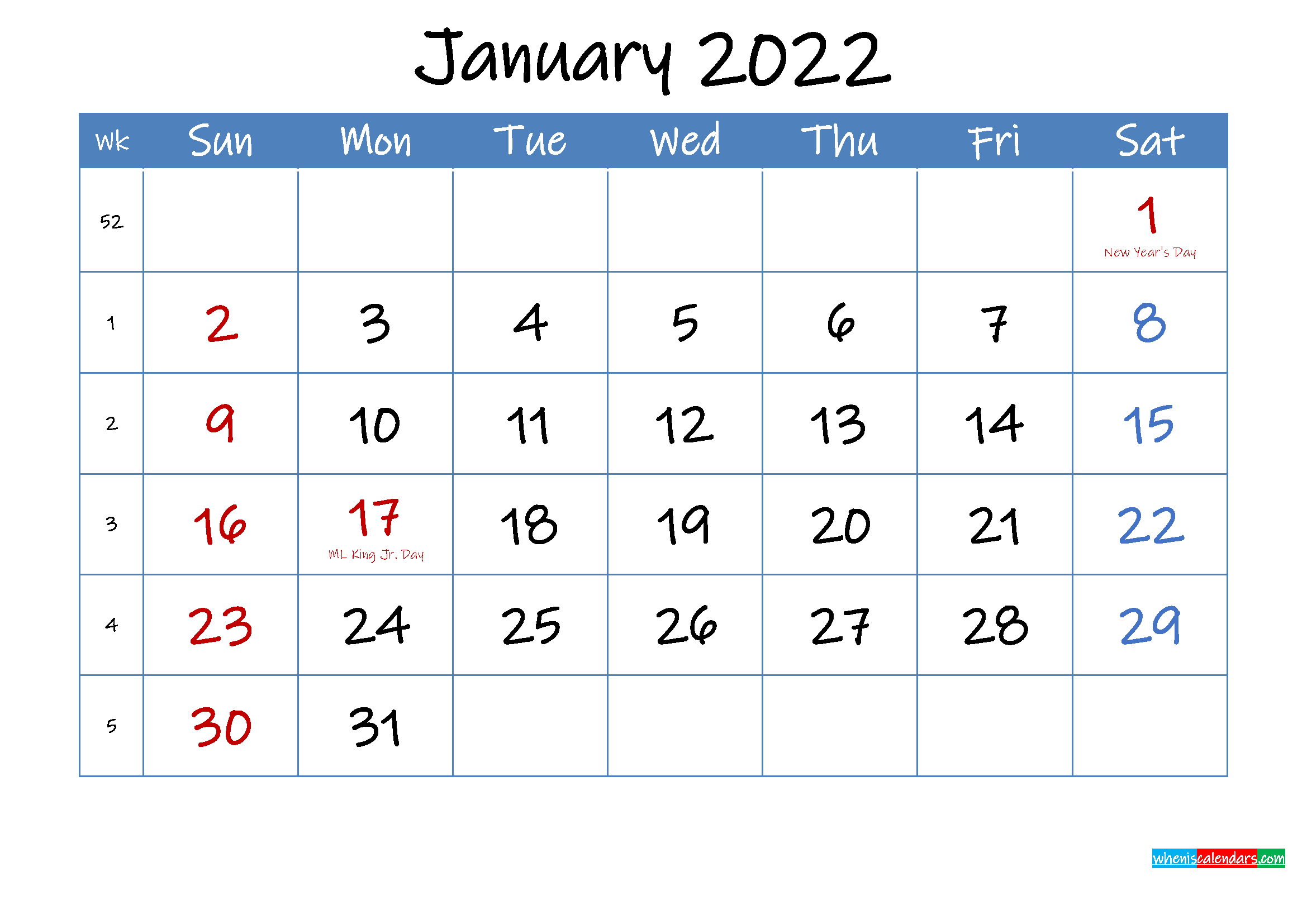 Printable January 2022 Calendar Word - Template Ink22M13 in January 2022 Printable Calendar Photo