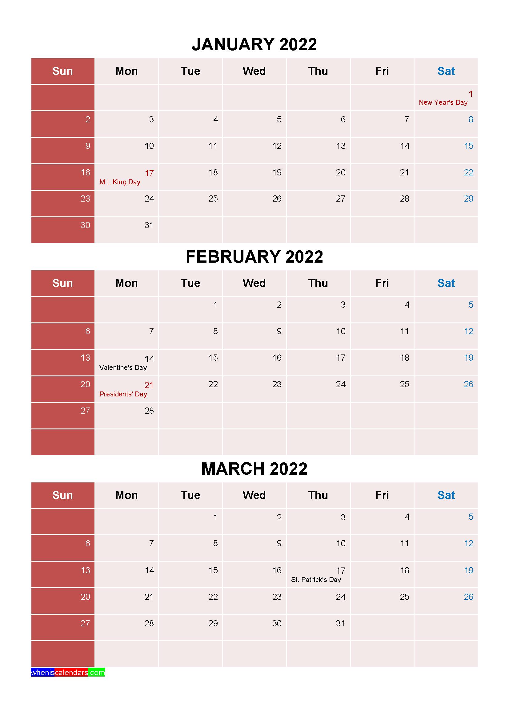 Printable January February March 2022 Calendar With regarding March April May 2022 Calendar Printable