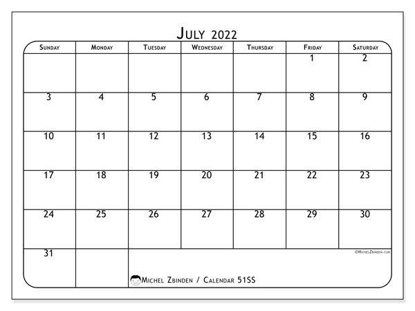 "Printable July 2022 ""51Ss"" Calendar - Michel Zbinden En with Print July 2022 Calendar Graphics"