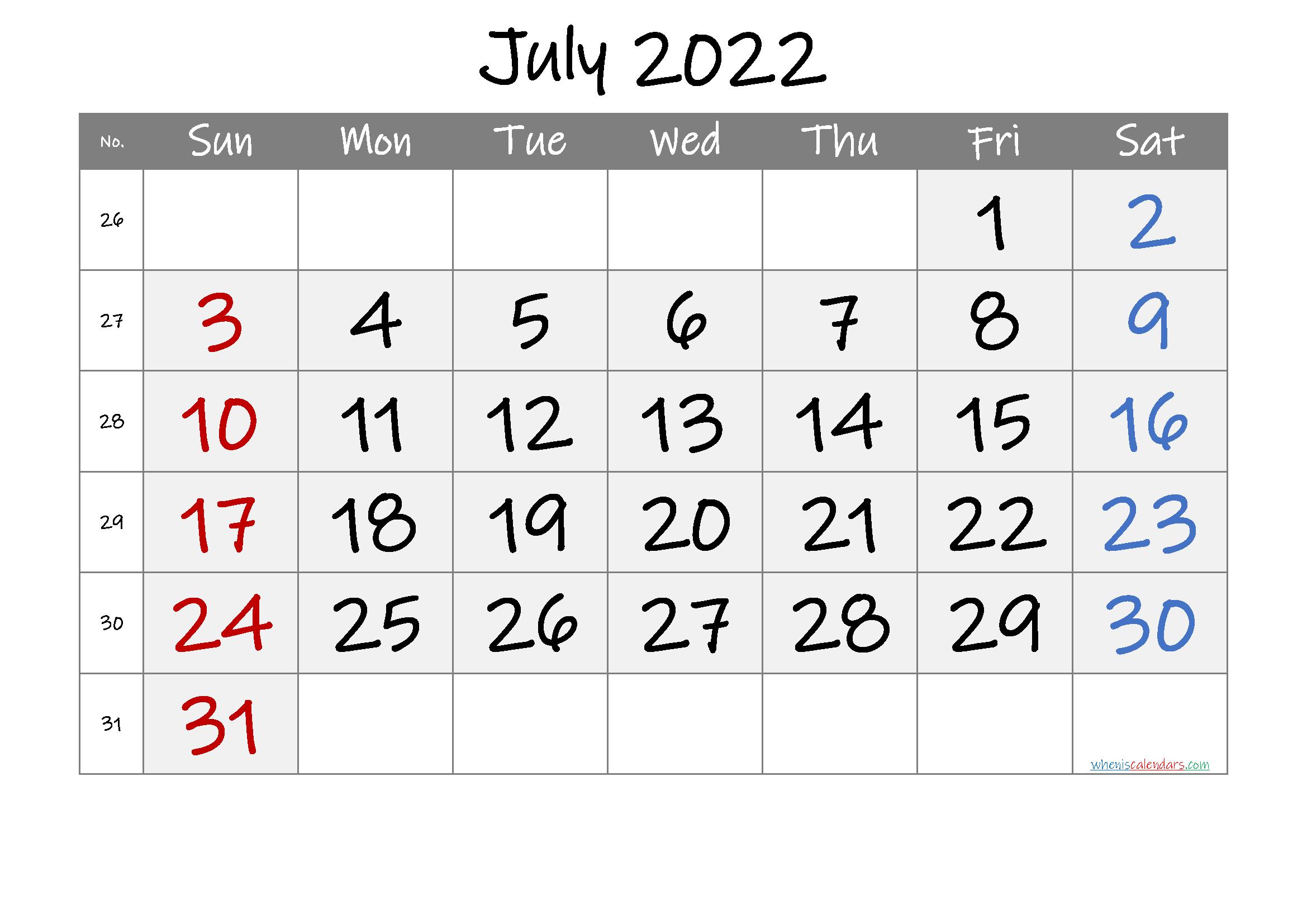 Printable July 2022 Calendar intended for Blank Calendar Template July 2022