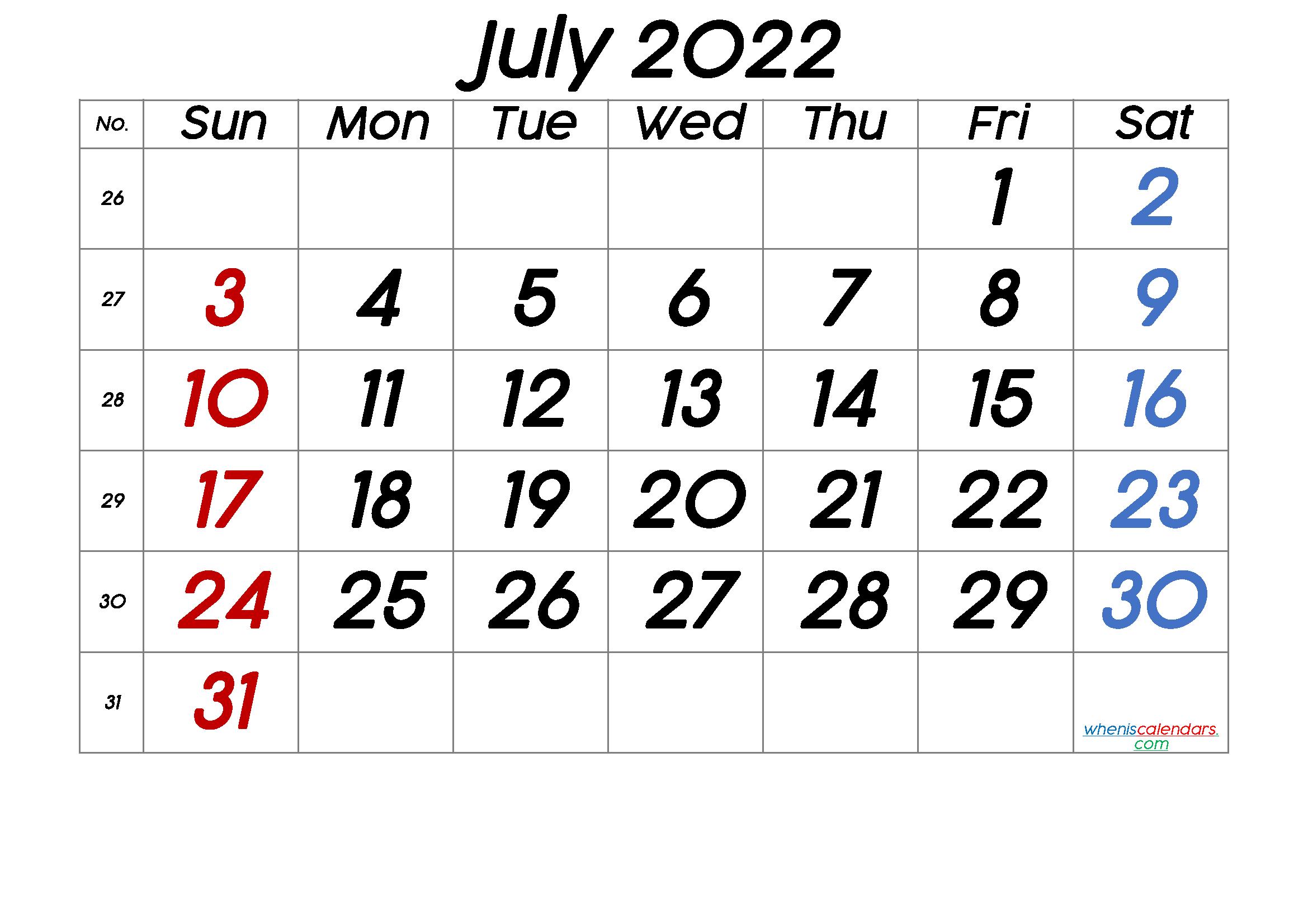 Printable July 2022 Calendar throughout July 2022 Calendar Printable