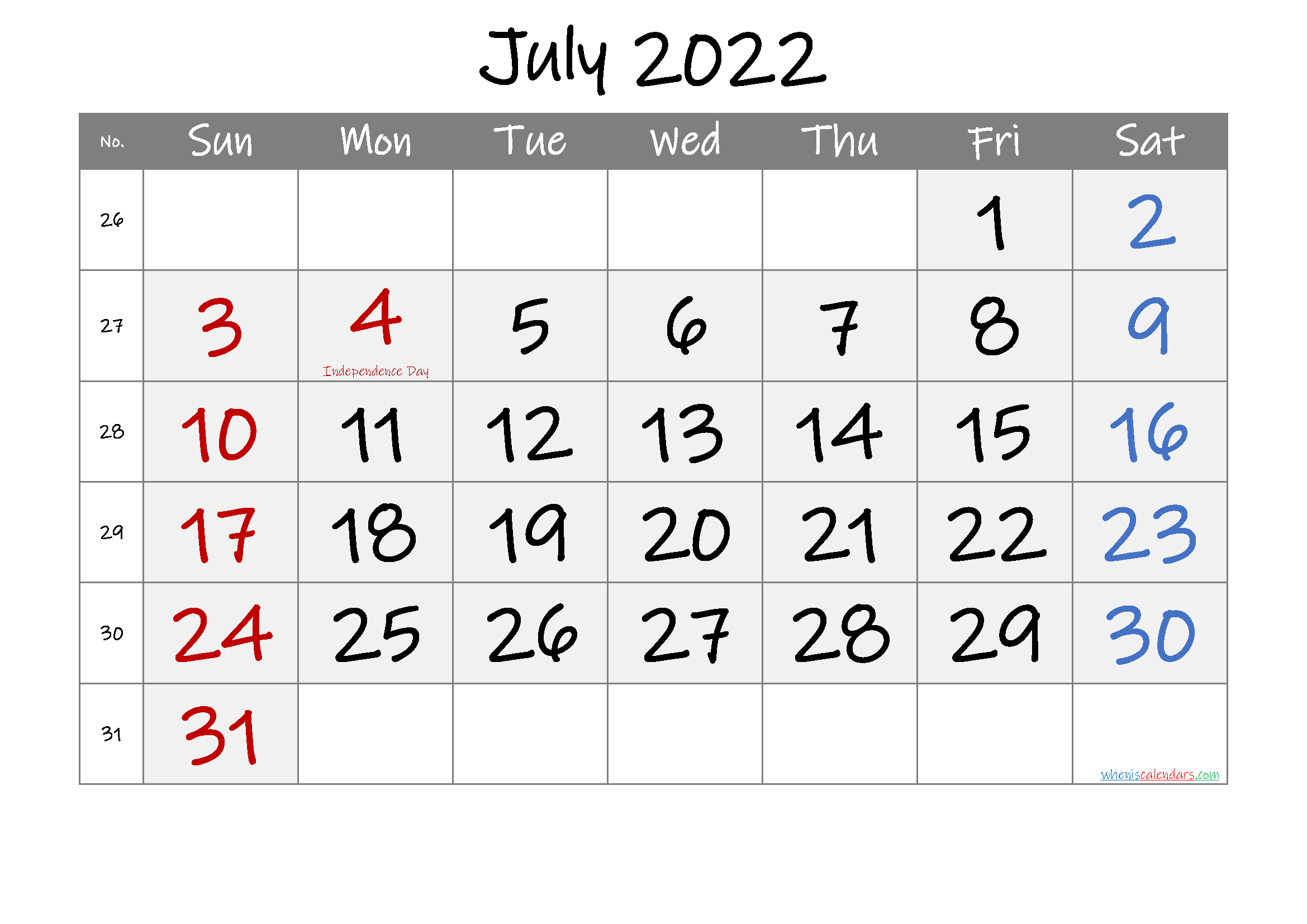Printable July 2022 Calendar With Holidays - 6 Templates   Free Printable 2020 Calendar With regarding July 2022 Calendar Printable Graphics