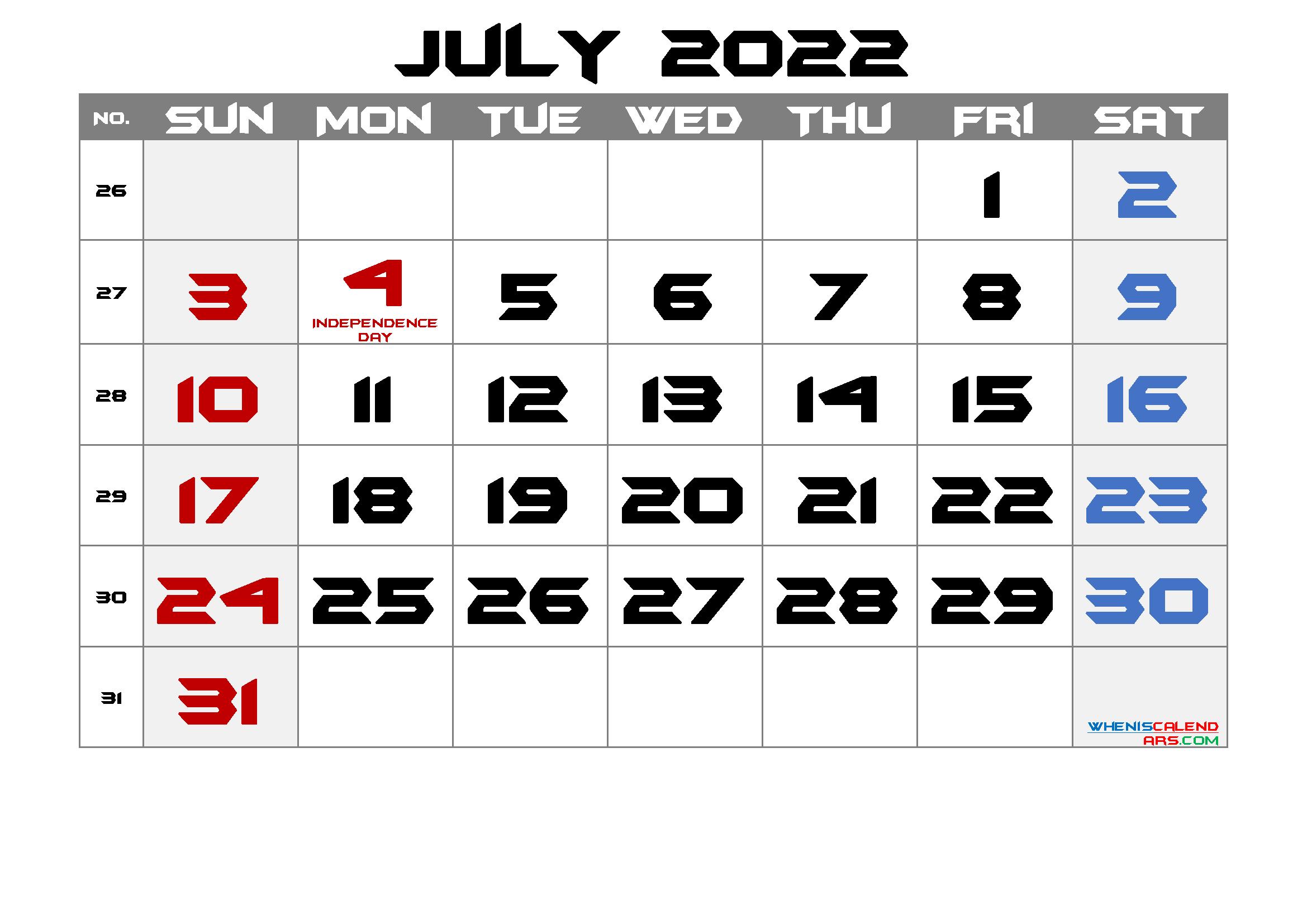 Printable July 2022 Calendar With Holidays throughout Printable 2022 July Calendar Image