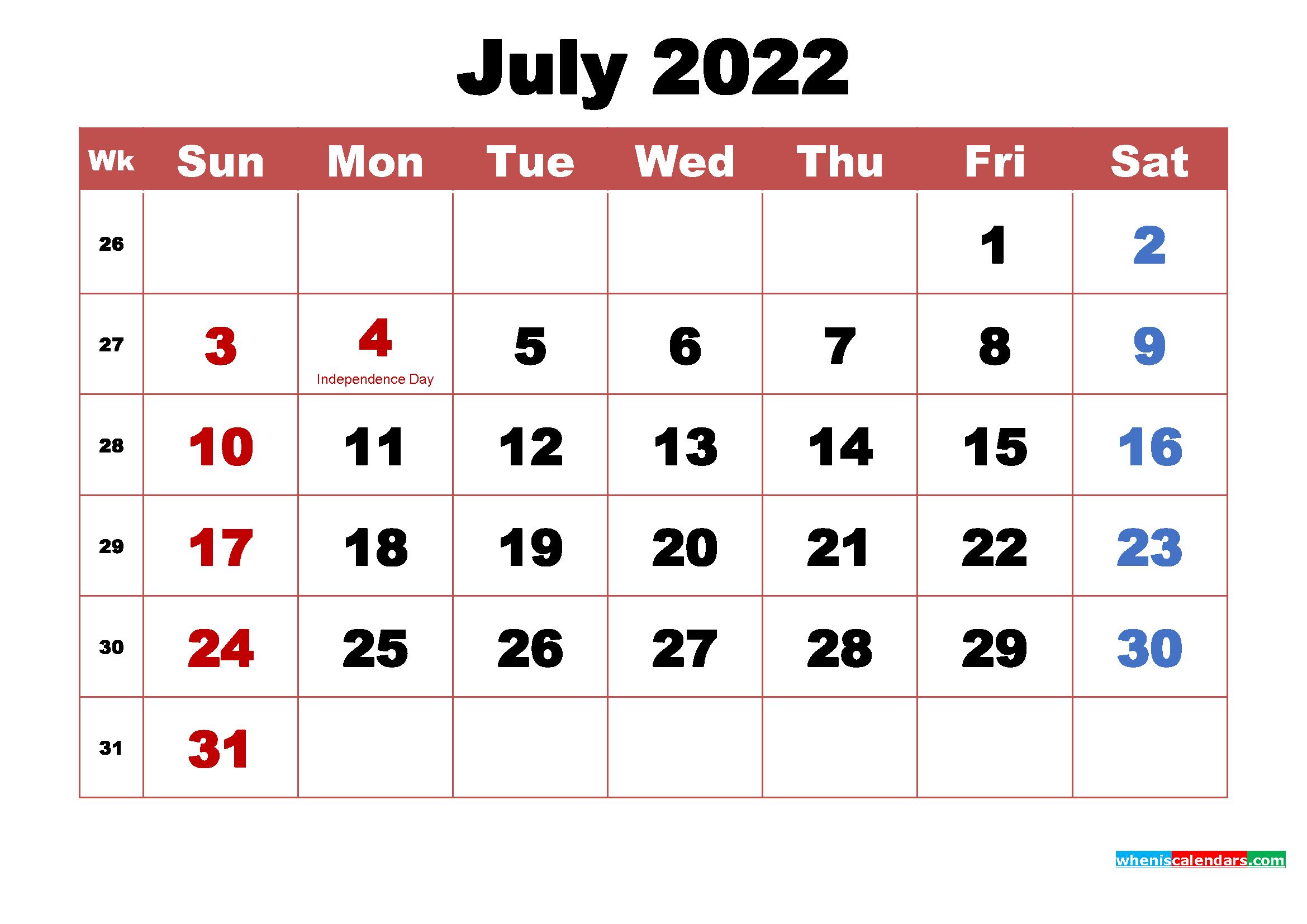 Printable July 2022 Calendar With Holidays Word, Pdf with Free Printable 2022 Planner With Holidays Graphics