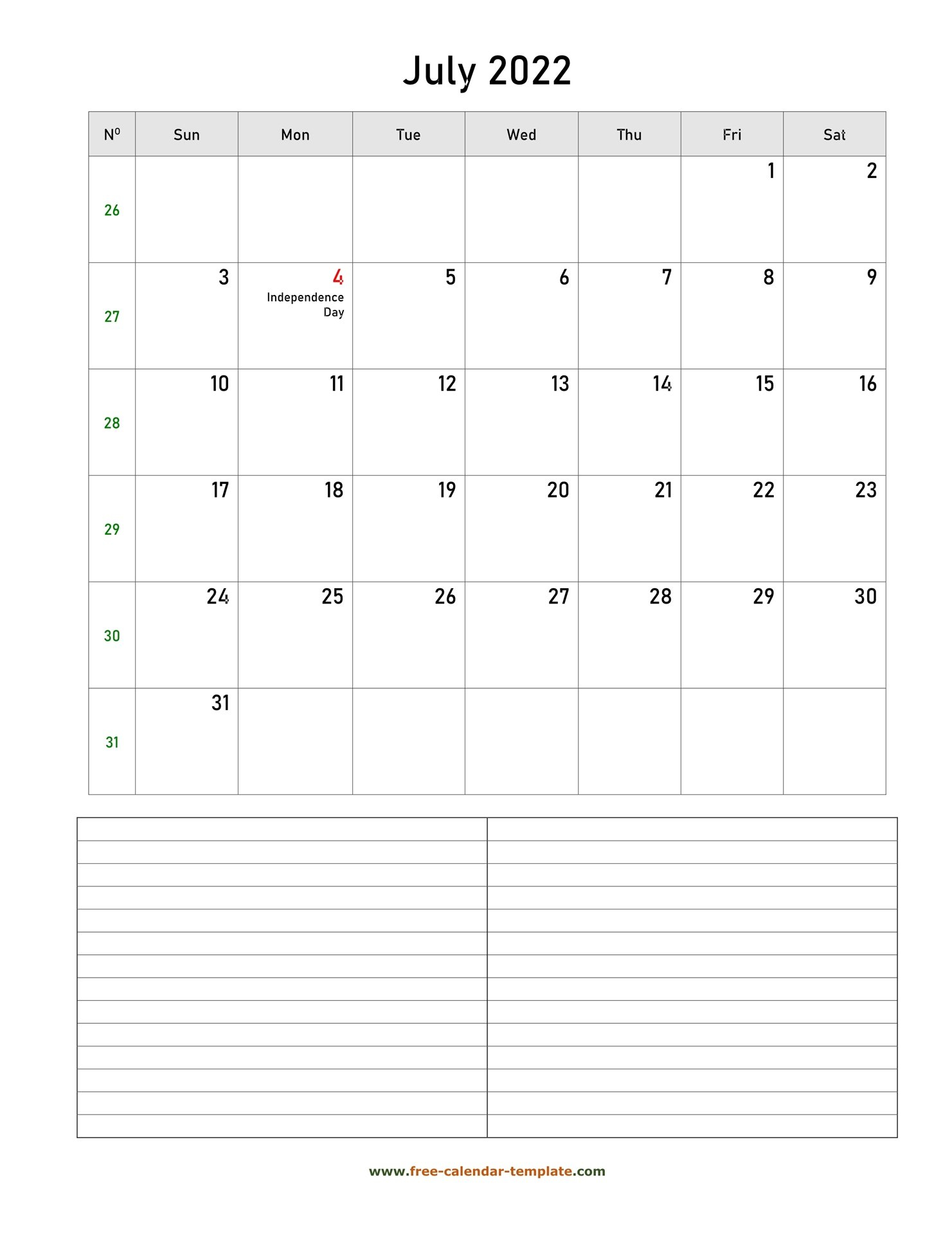 Printable July 2022 Calendar With Space For Appointments intended for Blank Calendar Template July 2022 Image