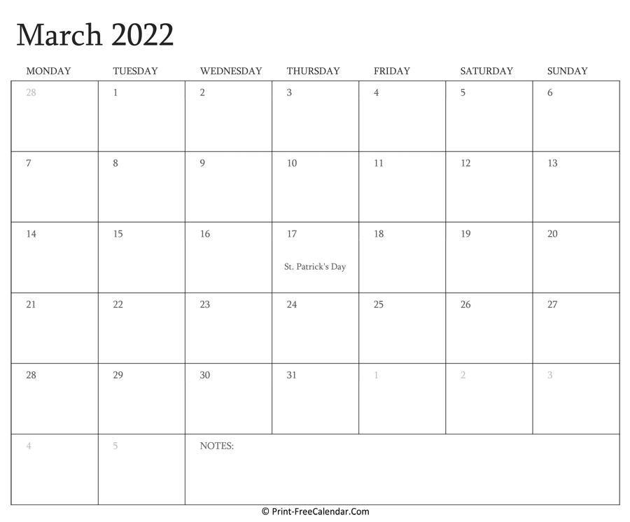 Printable March Calendar 2022 With Holidays within March April 2022 Printable Calendar