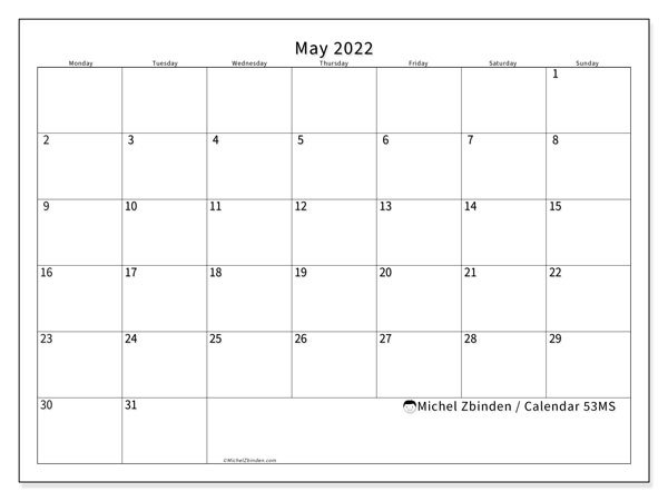 "Printable May 2022 ""53Ms"" Calendar - Michel Zbinden En pertaining to Printable Mayl 2022 Calendar"