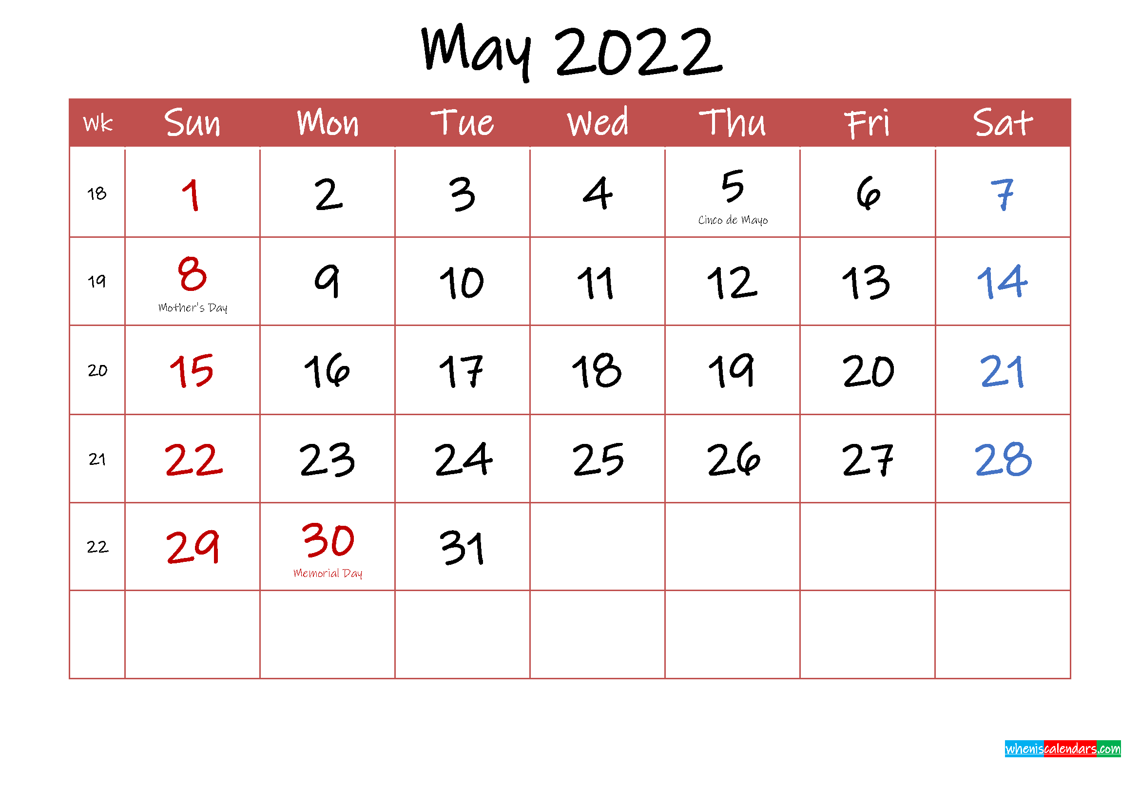 Printable May 2022 Calendar With Holidays - Template Ink22M29 intended for Free Printable 2022 Planner With Holidays Graphics