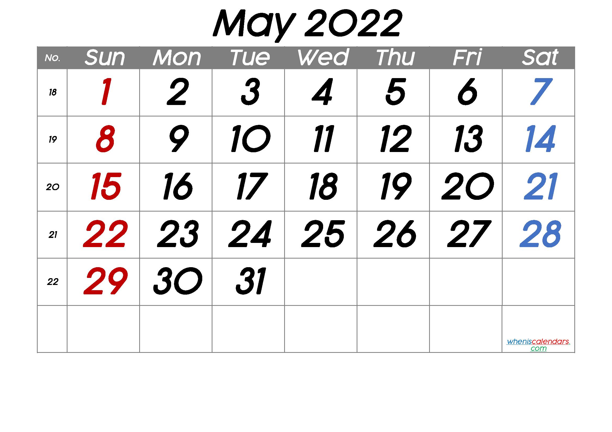 Printable May 2022 Calendar With Week Numbers - Free in May 2022 Calendar Printable