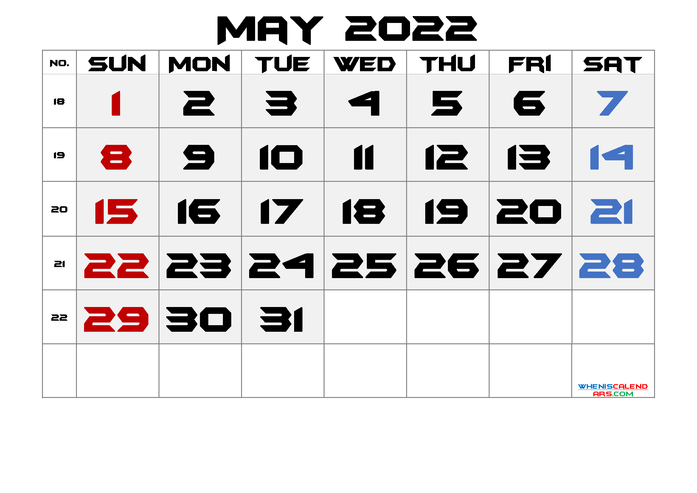 Printable May 2022 Calendar With Week Numbers - Free regarding Printable Calendar Month May 2022 Graphics