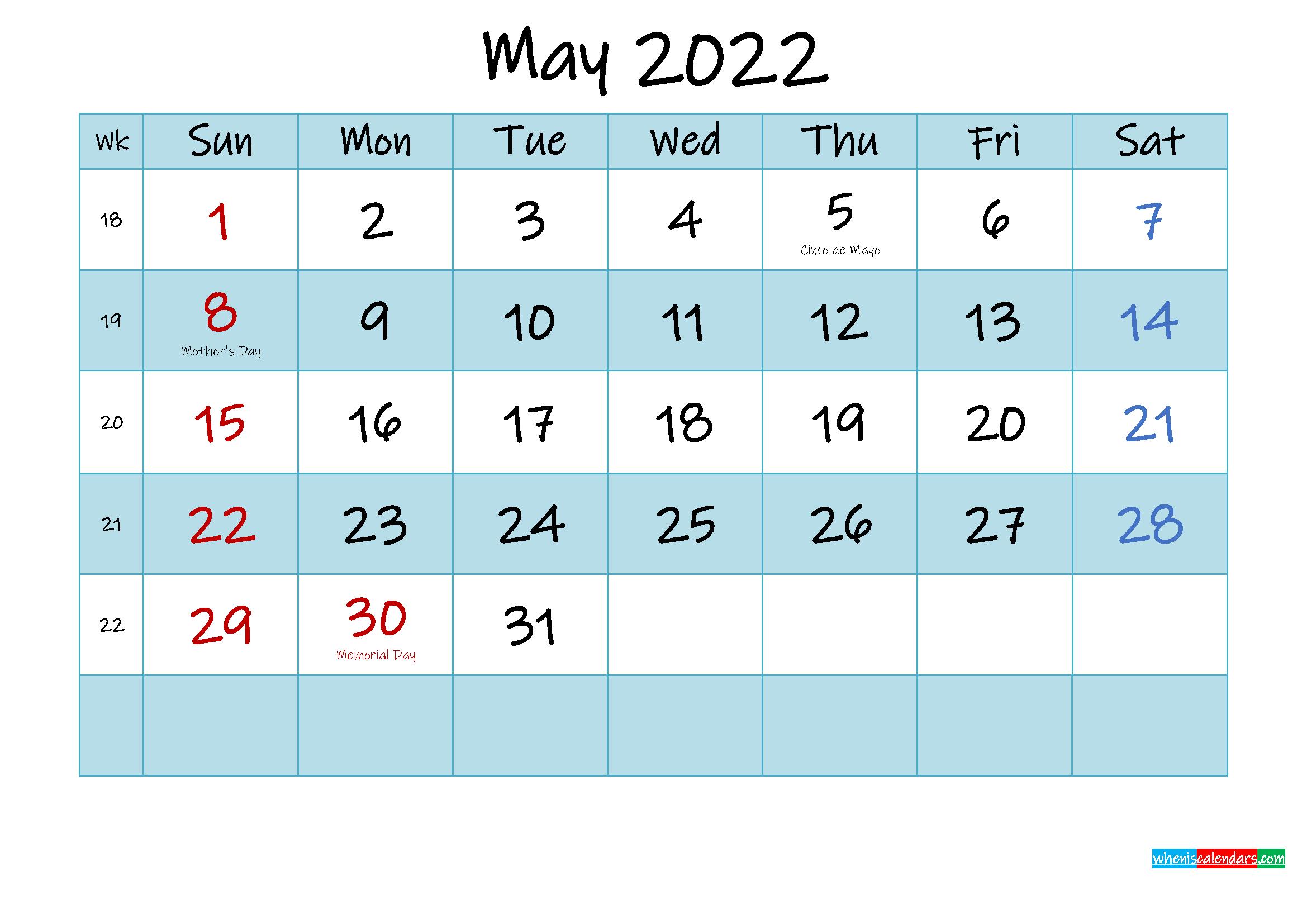 Printable May 2022 Calendar Word - Template No.ink22M473 in Printable Calendar May 2022