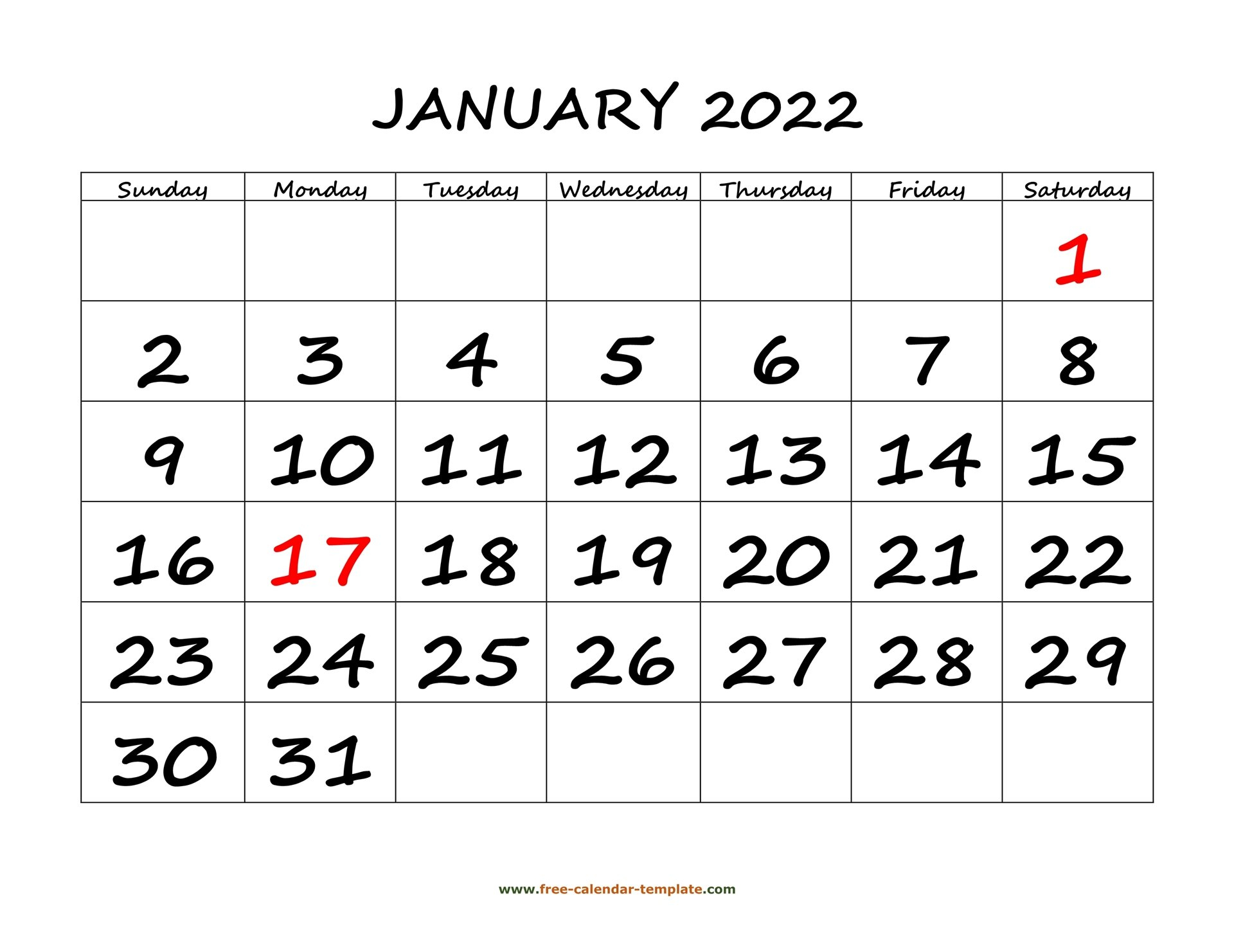Printable Monthly Calendar 2022 | Free-Calendar-Template with regard to Printable Day Planner 2022 Image