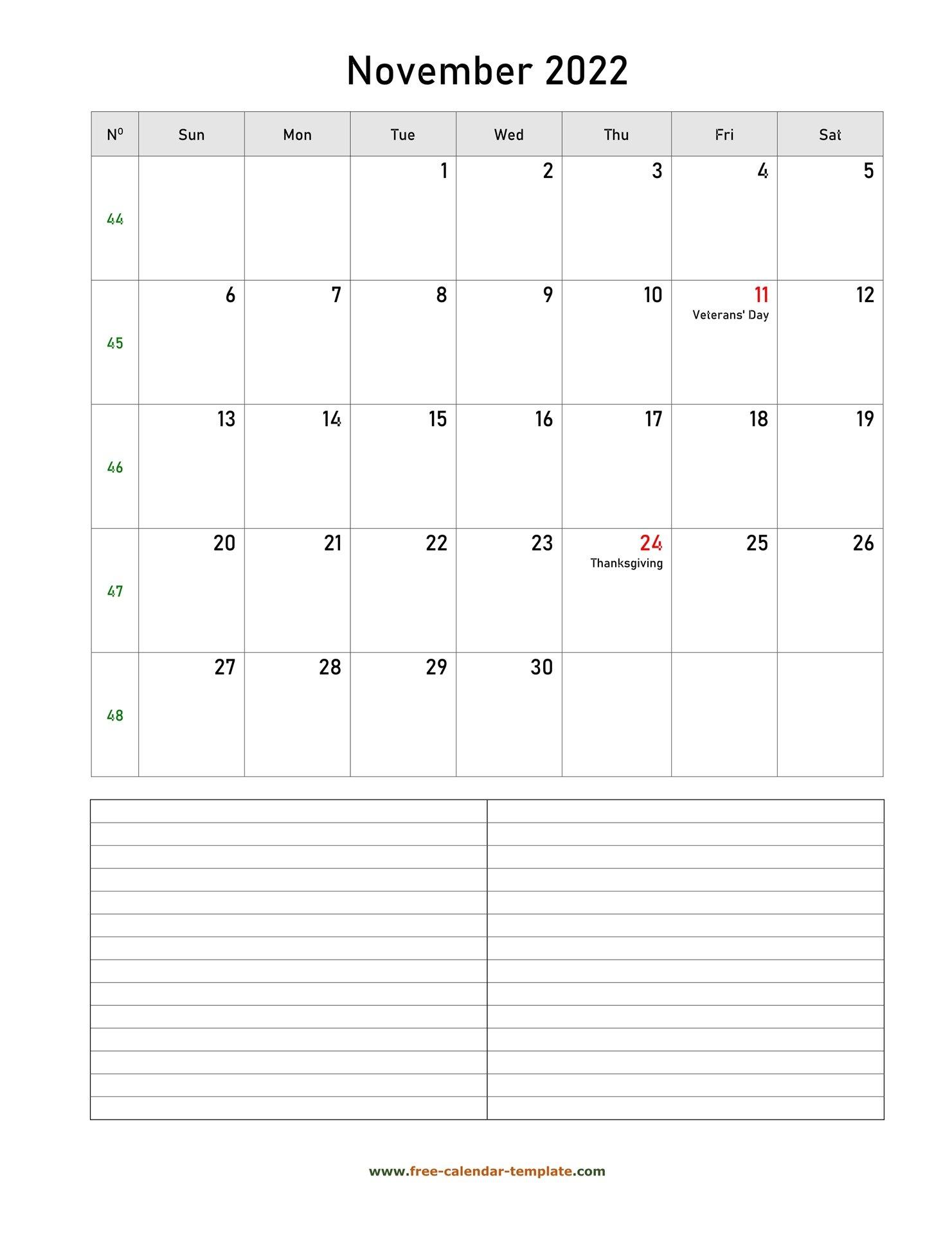 Printable November 2022 Calendar With Space For regarding November 2022 Calendar Planner Printable Photo