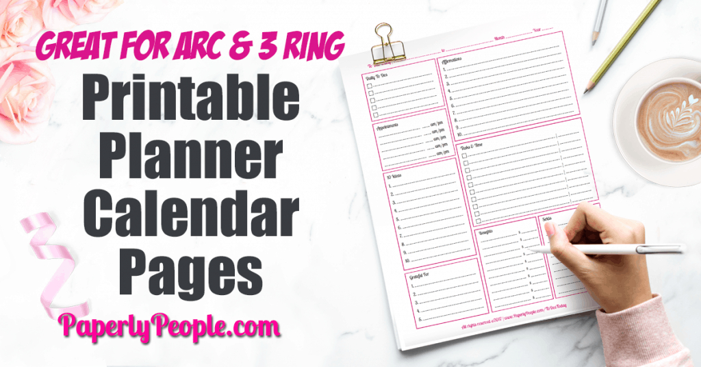 Printable Planner Calendar System For Staples Arc System with regard to Printable Artist Planner Pages