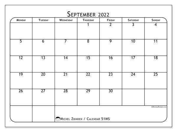 "Printable September 2022 ""51Ms"" Calendar - Michel Zbinden En pertaining to Print Month Calendar September 2022"