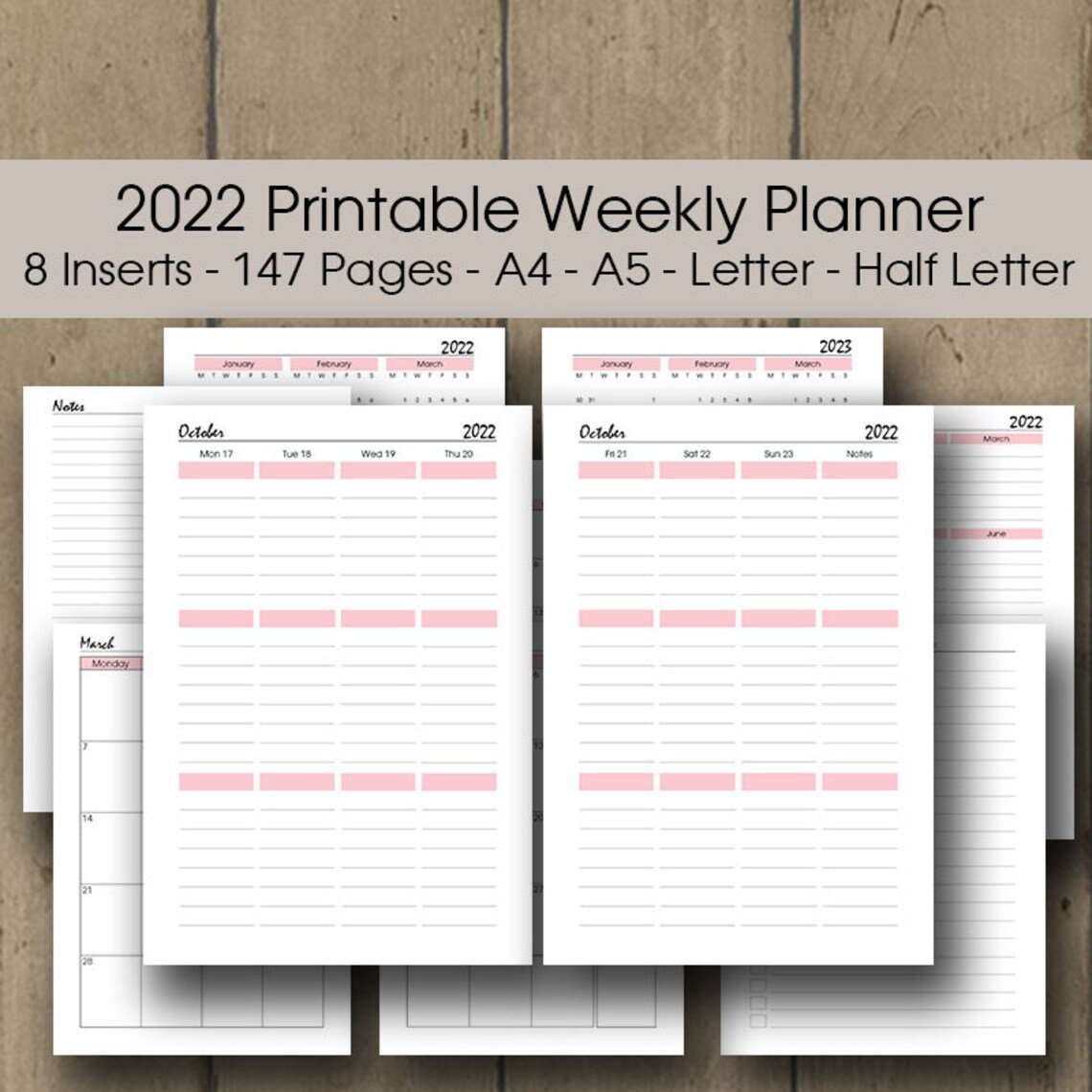 Printable Weekly Planner 2022 A4 A5 Letter Half Size | Etsy within Printable Daily Planner 2022