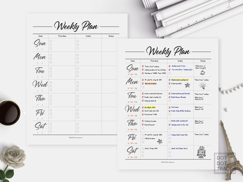 Printable Weekly Planner Sunday Start Daily Planner 7 Day with Weekly Planners That Start On Sunday